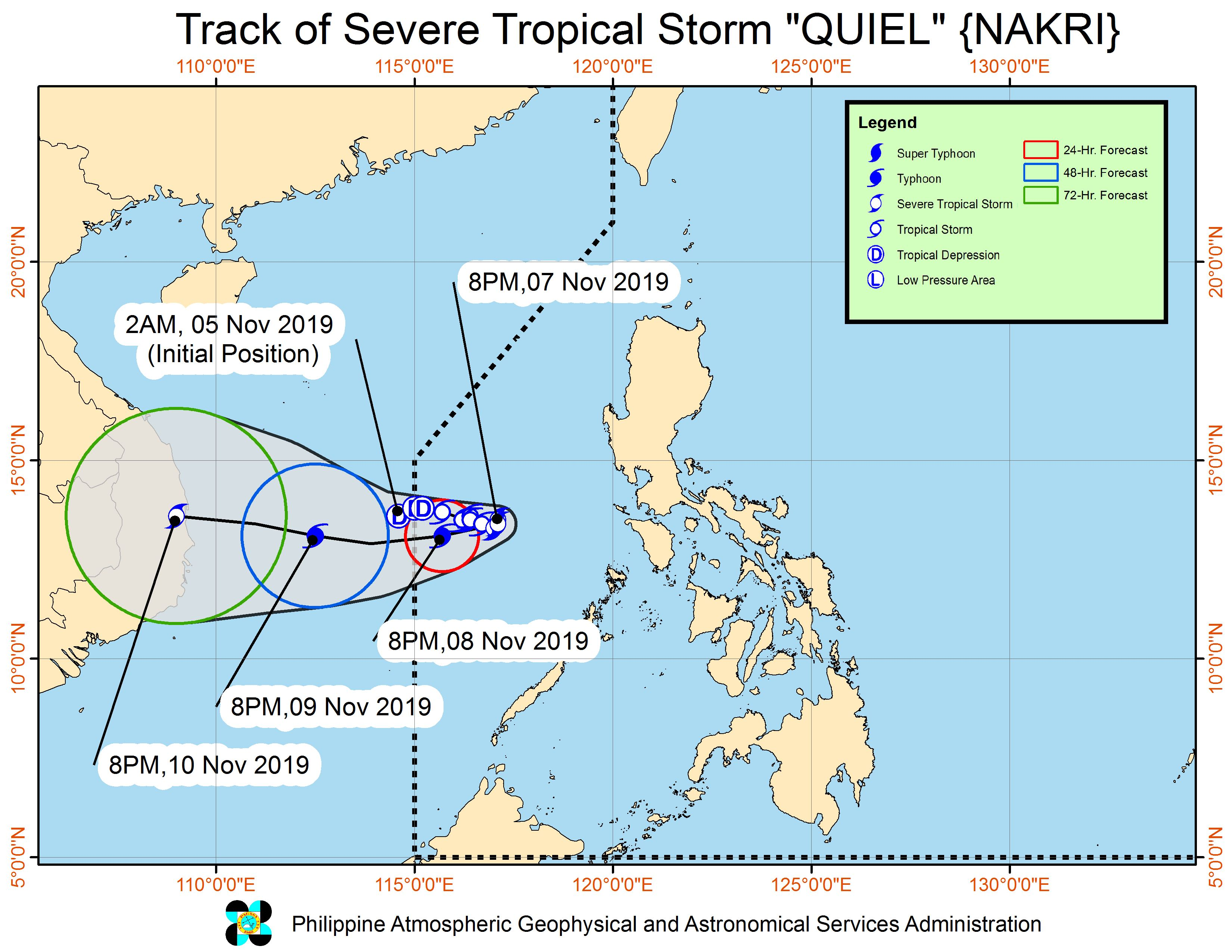 Forecast track of Severe Tropical Storm Quiel (Nakri) as of November 7, 2019, 11 pm. Image from PAGASA