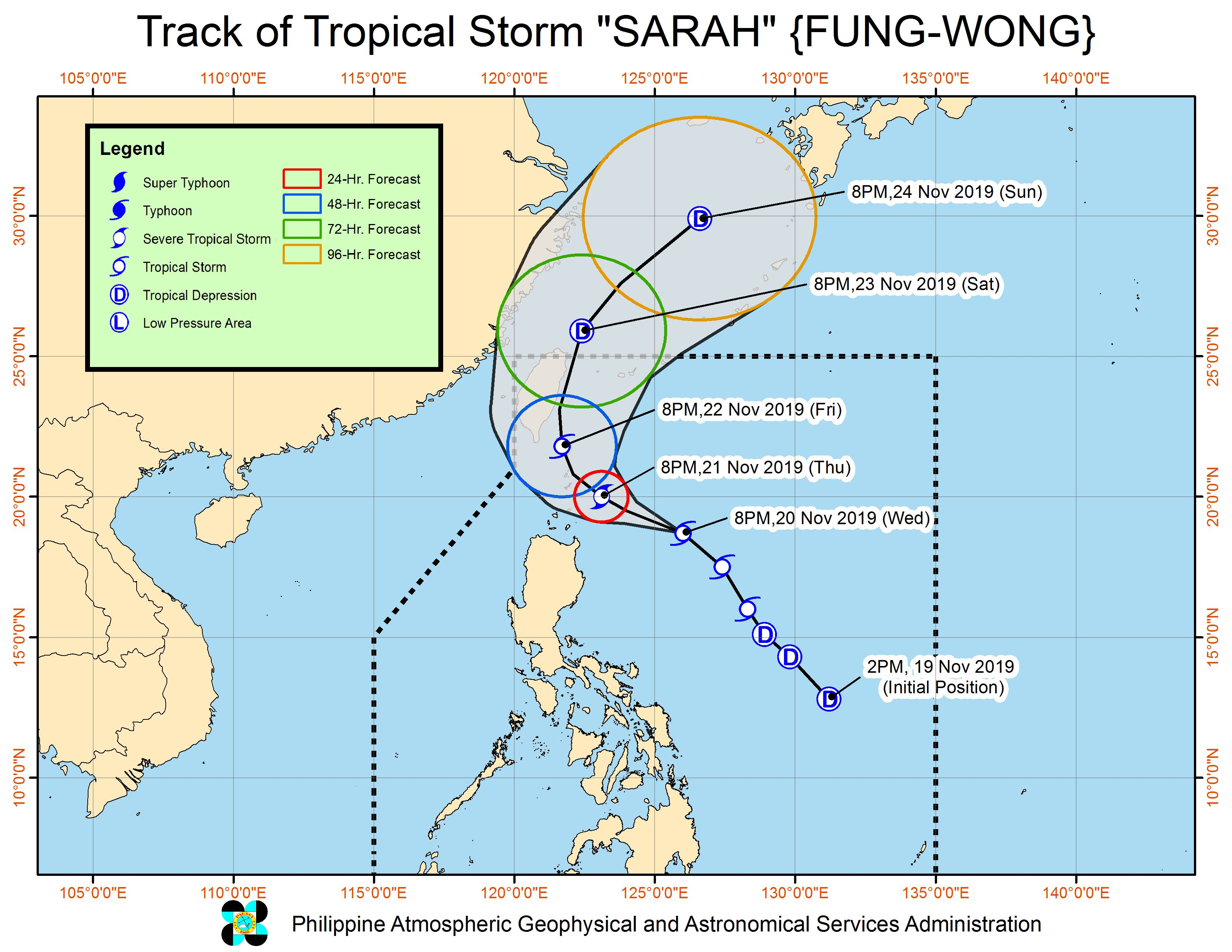 Forecast track of Tropical Storm Sarah (Fung-wong) as of November 20, 2019, 11 pm. Image from PAGASA