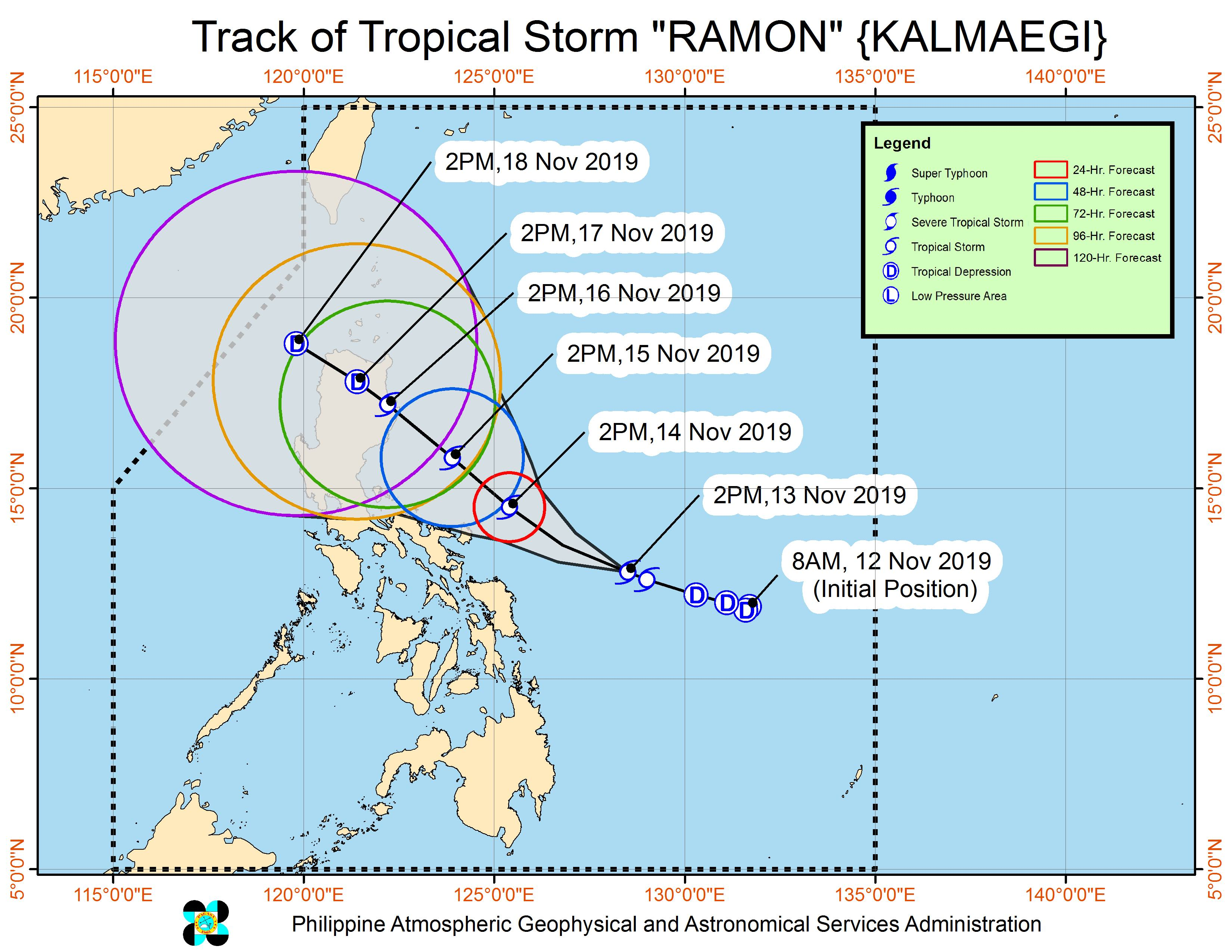 Forecast track of Tropical Storm Ramon (Kalmaegi) as of November 13, 2019, 5 pm. Image from PAGASA