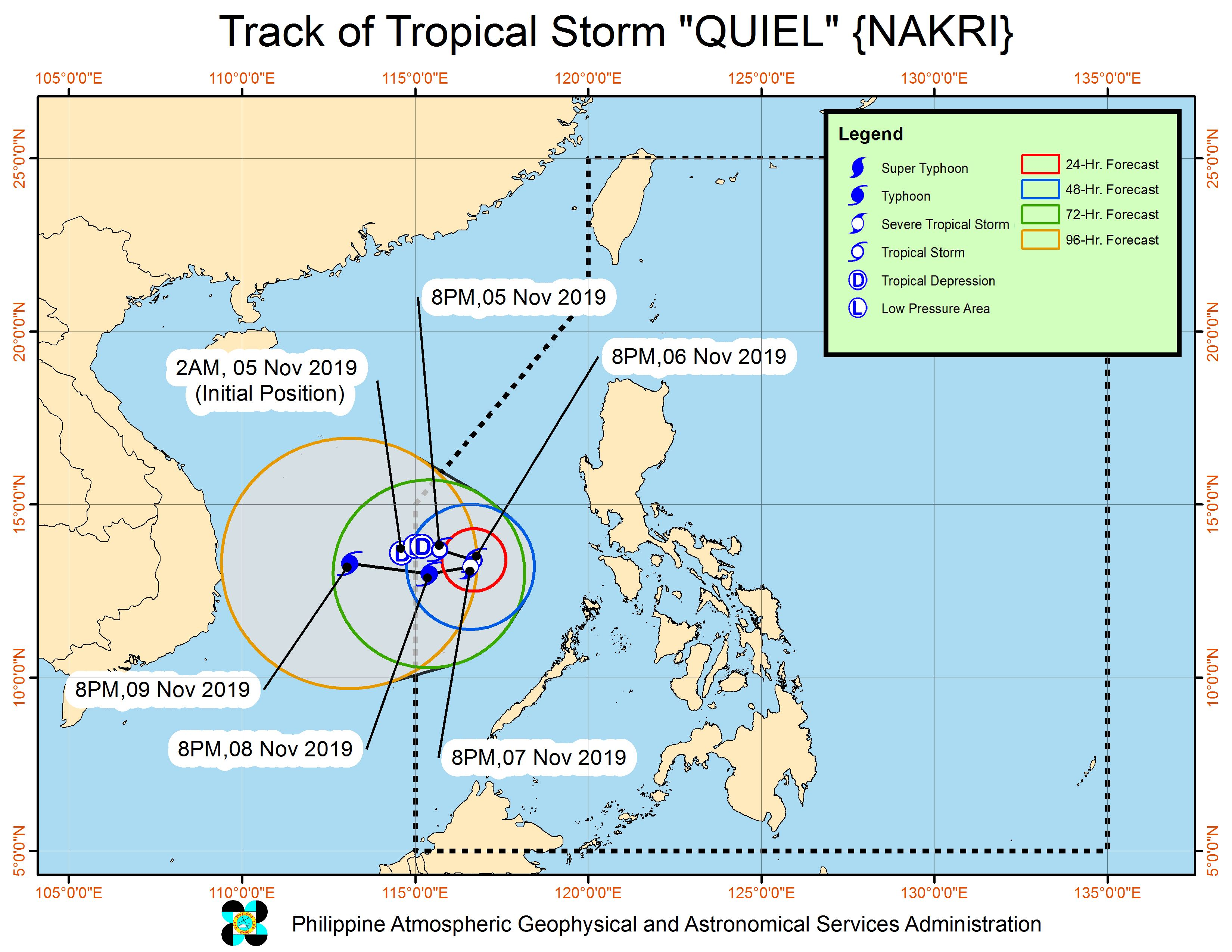 Forecast track of Tropical Storm Quiel (Nakri) as of November 5, 2019, 11 pm. Image from PAGASA