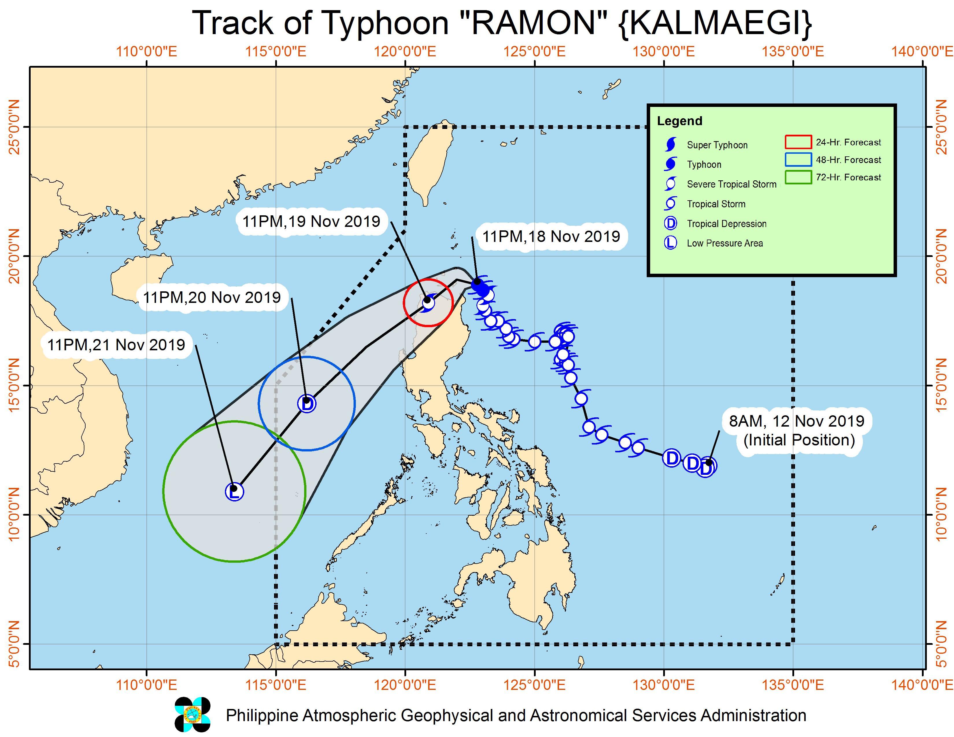 Forecast track of Typhoon Ramon (Kalmaegi) as of November 19, 2019, 2 am. Image from PAGASA
