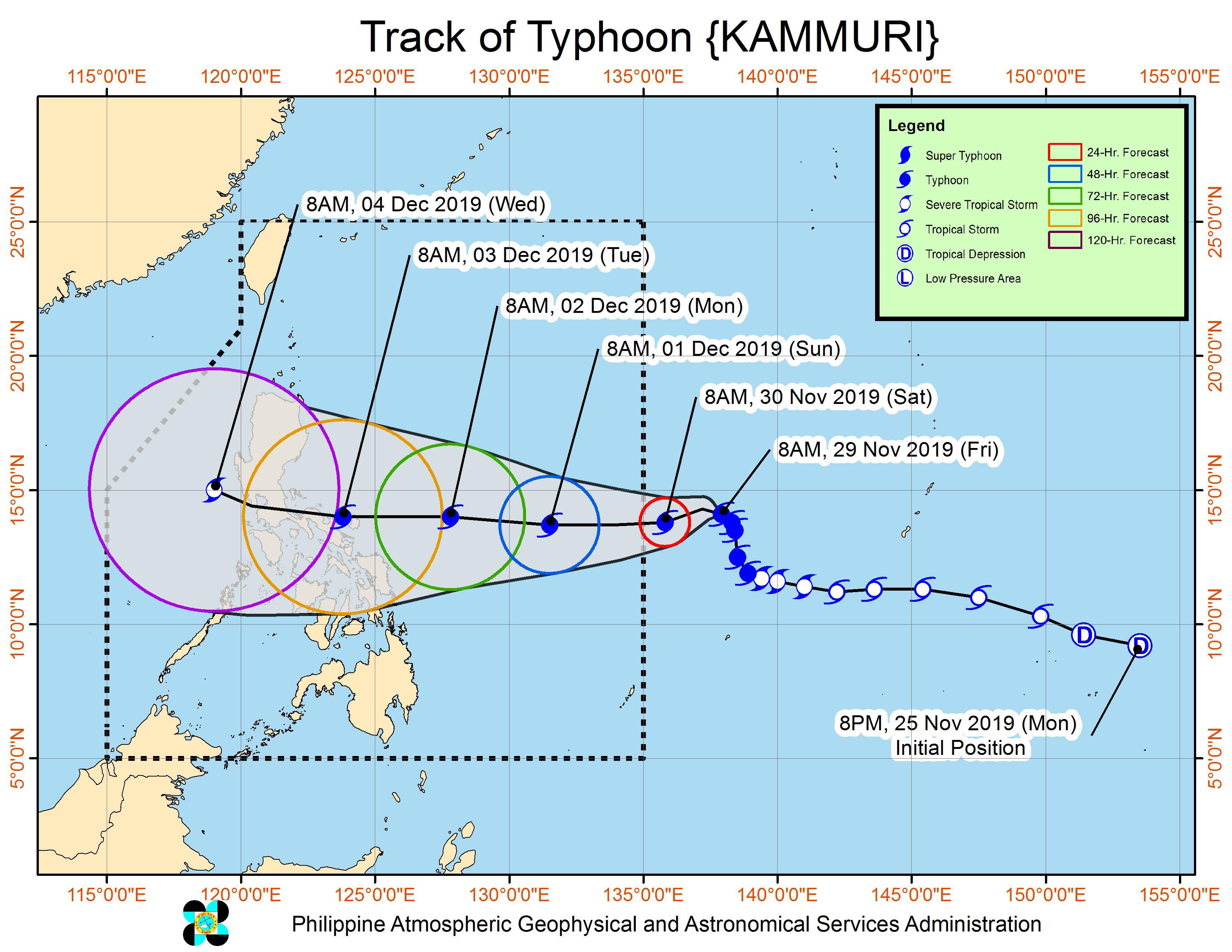 Forecast track of Typhoon Kammuri as of November 29, 2019, 11 am. Image from PAGASA