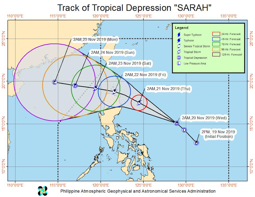 Forecast track of Tropical Depression Sarah as of November 20, 2019, 5 am. Image from PAGASA