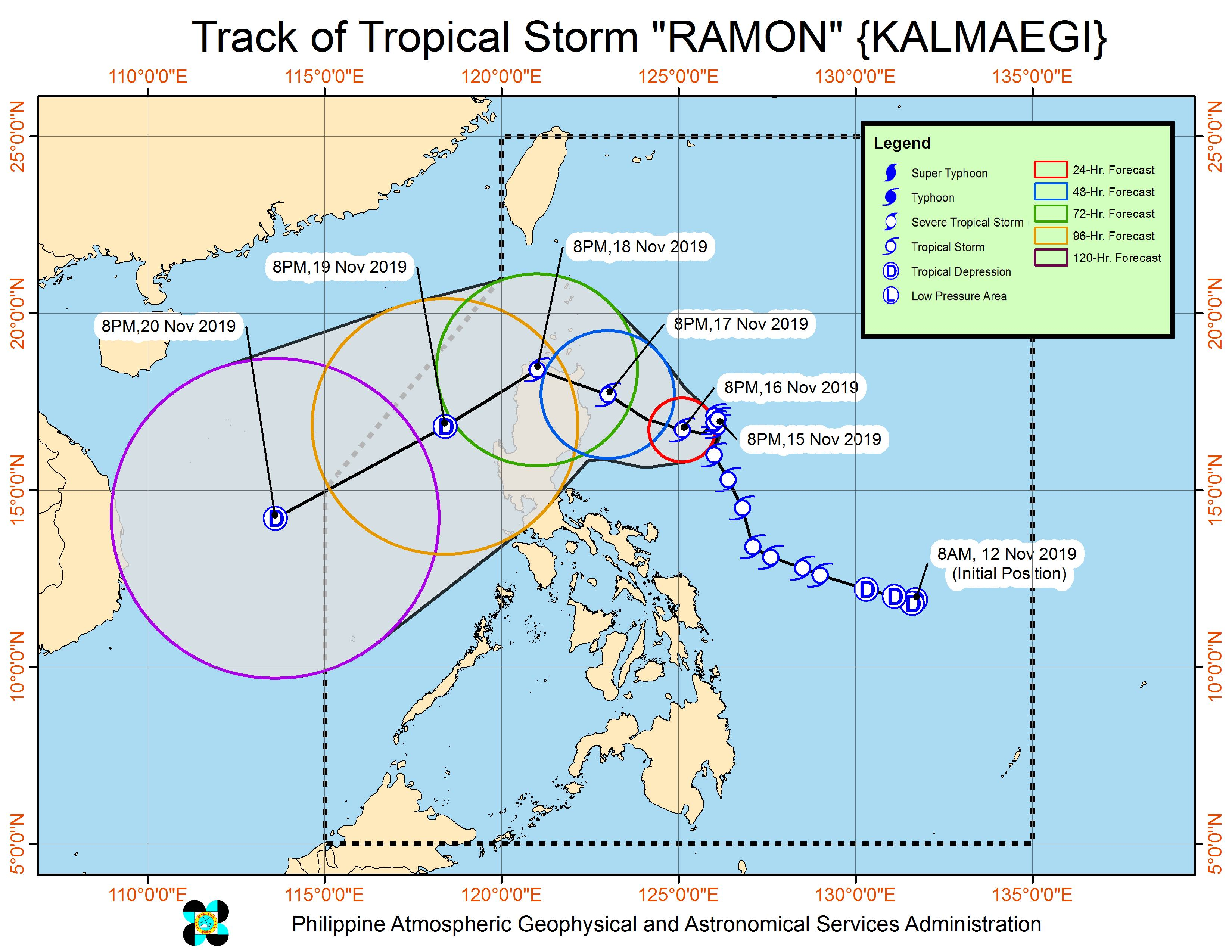 Forecast track of Tropical Storm Ramon (Kalmaegi) as of November 15, 2019, 11 pm. Image from PAGASA