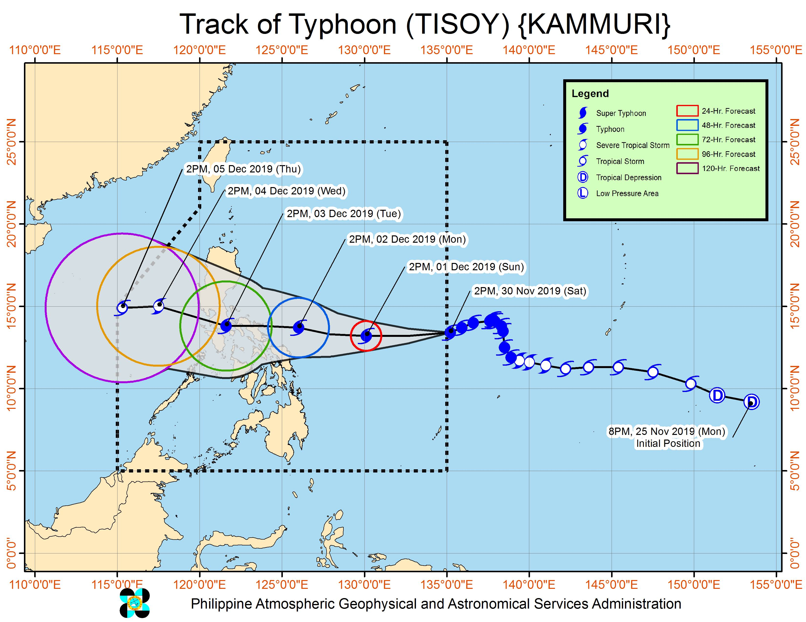 Forecast track of Typhoon Tisoy (Kammuri) as of November 30, 2019, 5 pm. Image from PAGASA