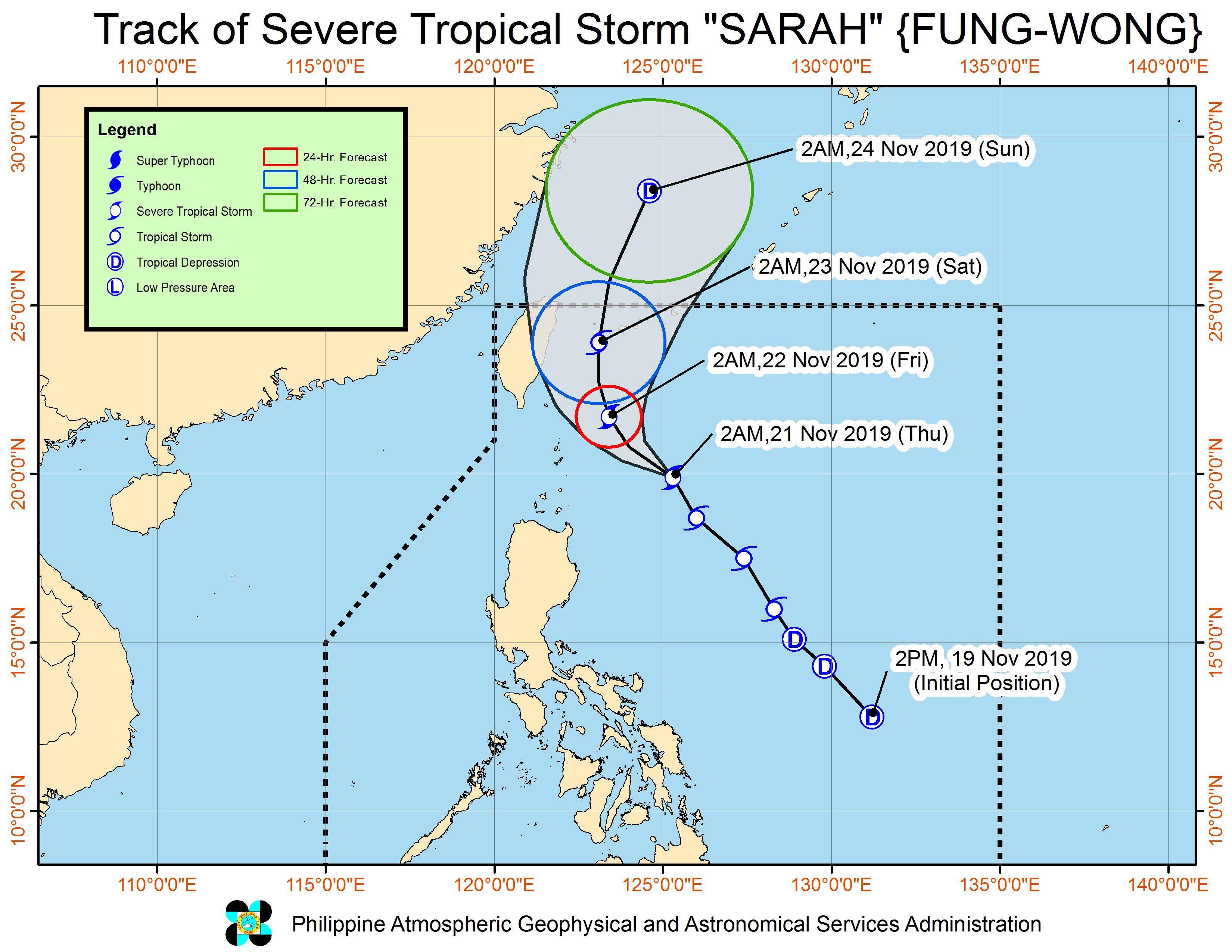Forecast track of Severe Tropical Storm Sarah (Fung-wong) as of November 21, 2019, 5 am. Image from PAGASA