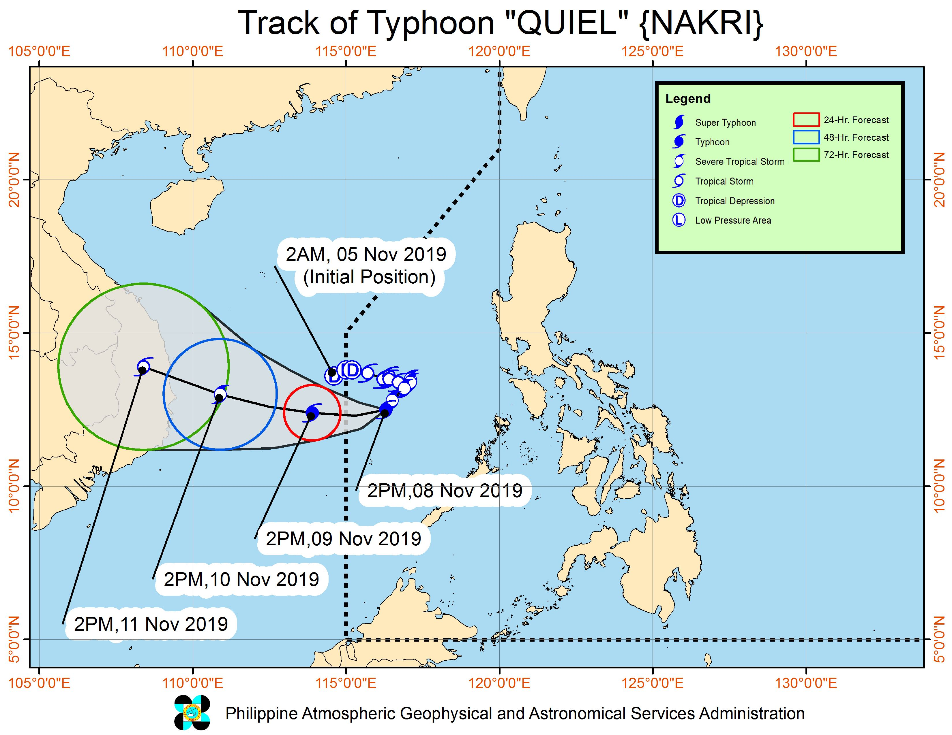 Forecast track of Typhoon Quiel (Nakri) as of November 8, 2019, 5 pm. Image from PAGASA