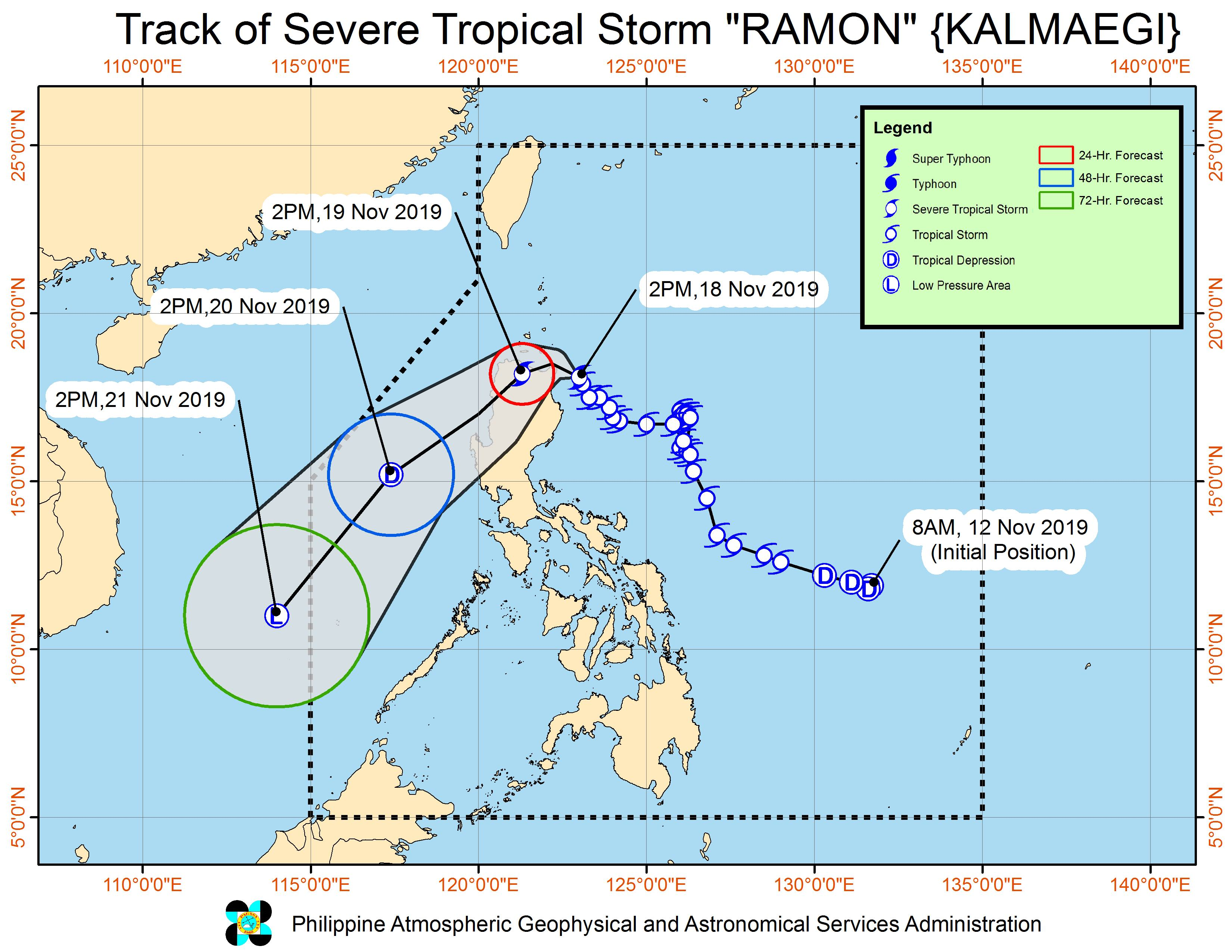 Forecast track of Severe Tropical Storm Ramon (Kalmaegi) as of November 18, 2019, 5 pm. Image from PAGASA