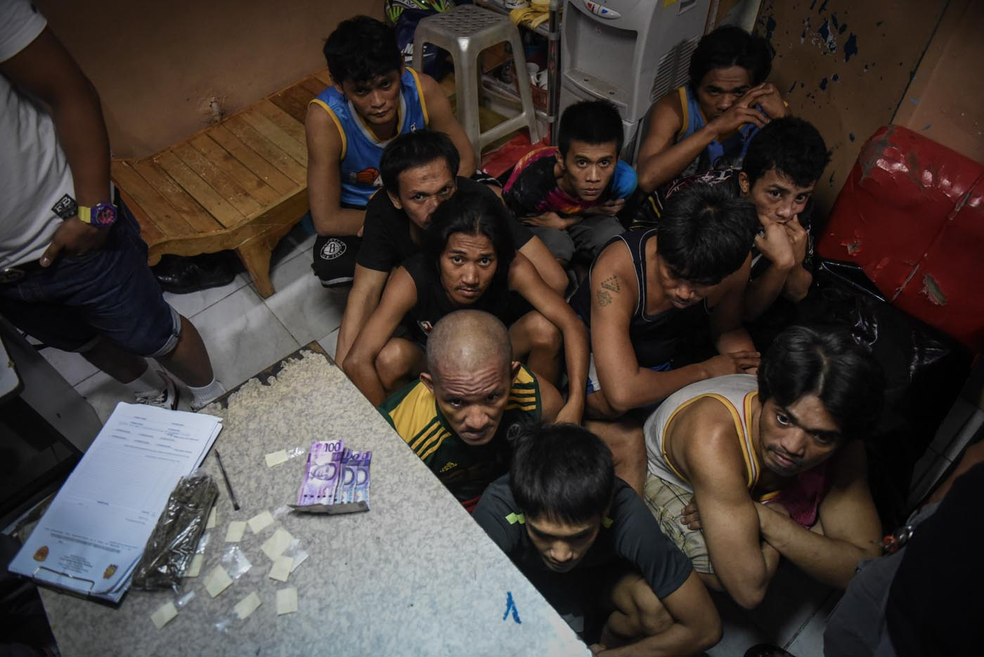 FOR INQUEST. The 10 arrested drug suspects under investigation inside the SAID-SOTU office.