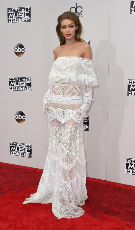 Host Gigi Hadid arrives for the 2016 American Music Awards, November 20 at the Microsoft Theater in Los Angeles, California. Photo by Valerie Macon/AFP