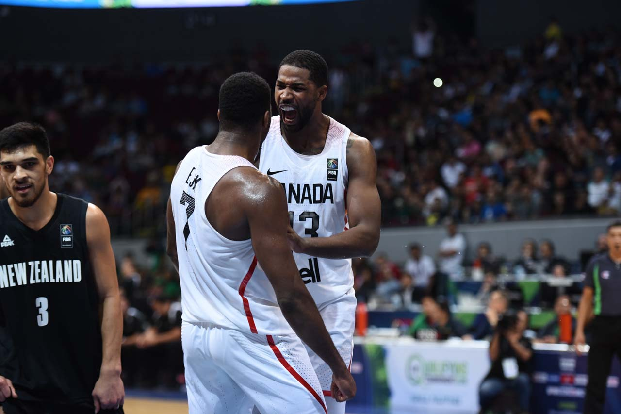 EMOTION. Tristan Thompson reacts during Canada's match versus New Zealand in the FIBA OQT. Photo by Martin San Diego/Rappler