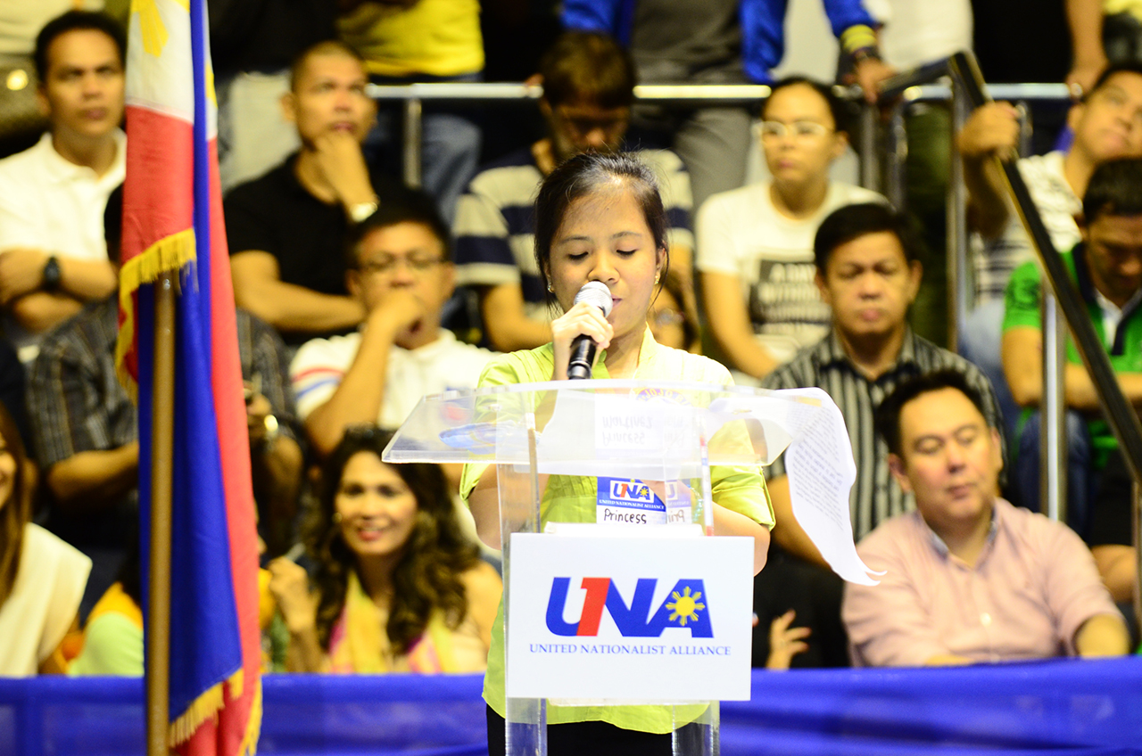 TESTIMONIAL. Princess' speech was loudly applauded by the audience in the Makati Coliseum. Photo by Rob Reyes/Rappler