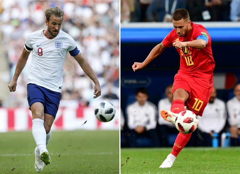 NEXT BEST THING. Harry Kane's (left) England squares off with Eden Hazard's Belgium as both squads vie for a winning exit. Photos by Ian Kington and Giuseppe Cacace/AFP