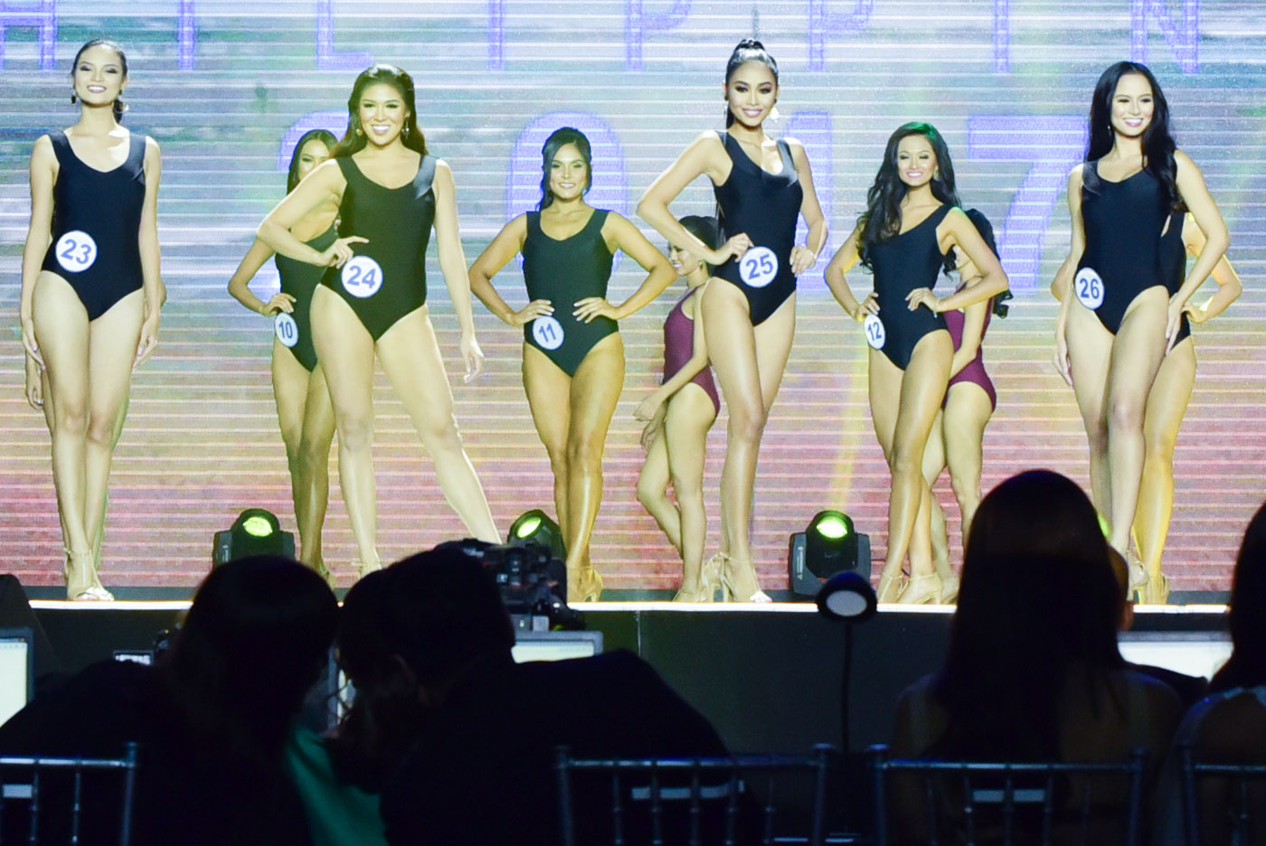 SWIMSUIT COMPETITION. Photographed are #23 Princess Laureano, #24 Zara Carbonell, #25 Discery Karren Dela, (behind) #11 Gabriela Ortega, #12 Henna Kaizelle Nicole Cajandig. All photos by Alecs Ongcal/Rappler