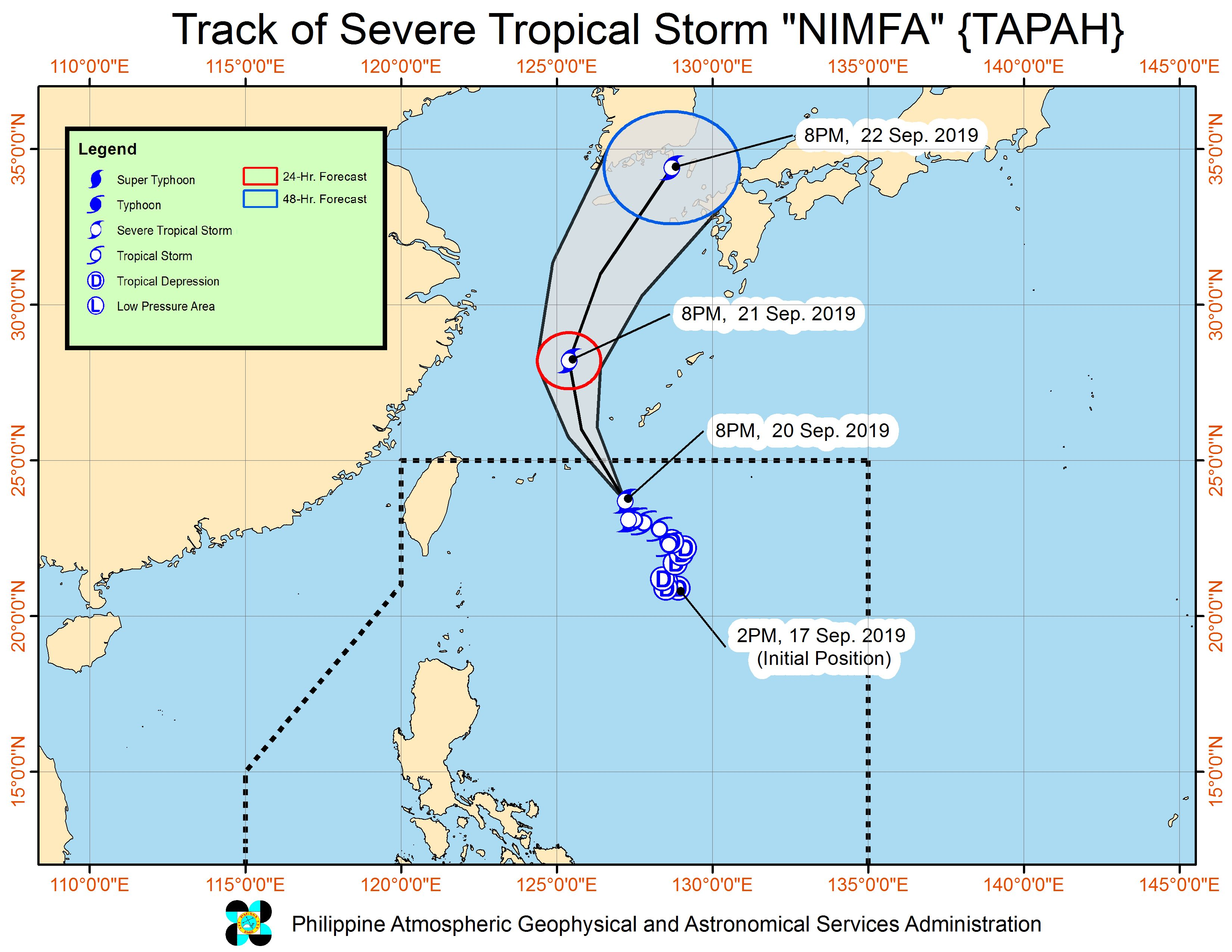 Forecast track of Severe Tropical Storm Nimfa (Tapah) as of September 20, 2019, 11 pm. Image from PAGASA