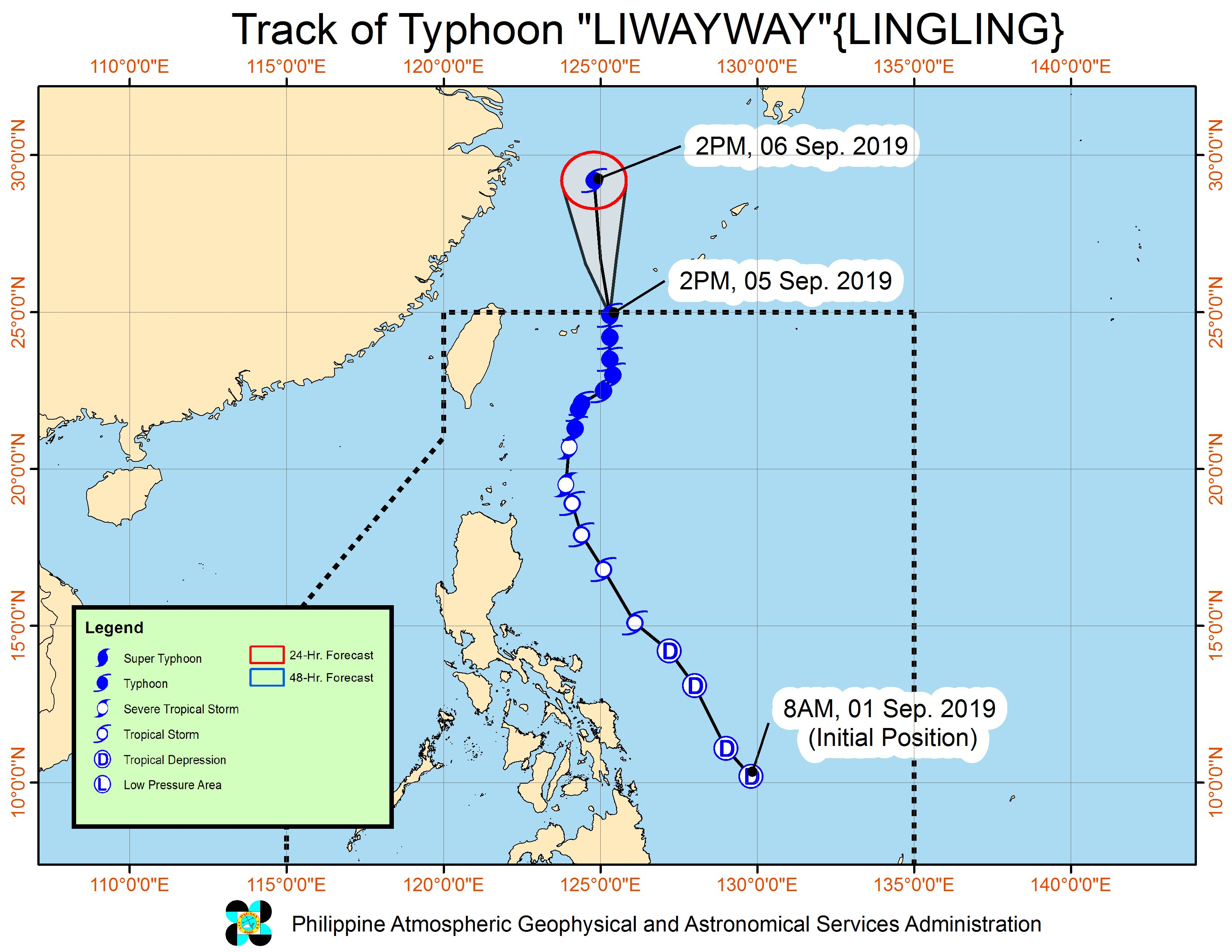 Forecast track of Typhoon Liwayway (Lingling) as of September 5, 2019, 5 pm. Image from PAGASA