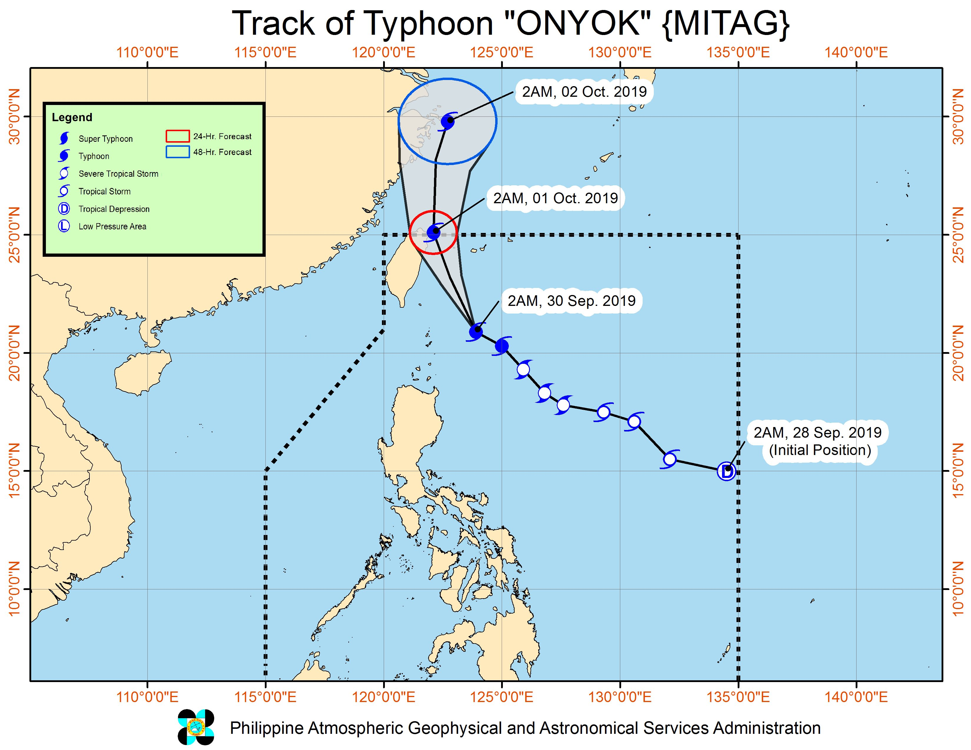 Forecast track of Typhoon Onyok (Mitag) as of September 30, 2019, 5 am. Image from PAGASA
