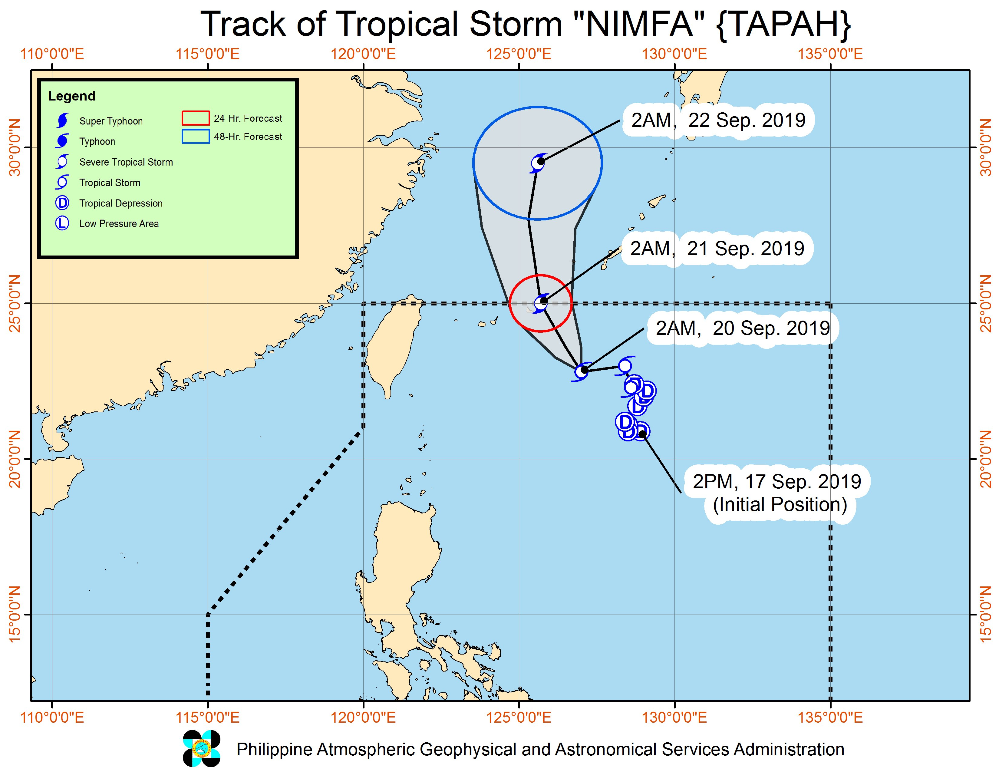Forecast track of Tropical Storm Nimfa (Tapah) as of September 20, 2019, 5 am. Image from PAGASA