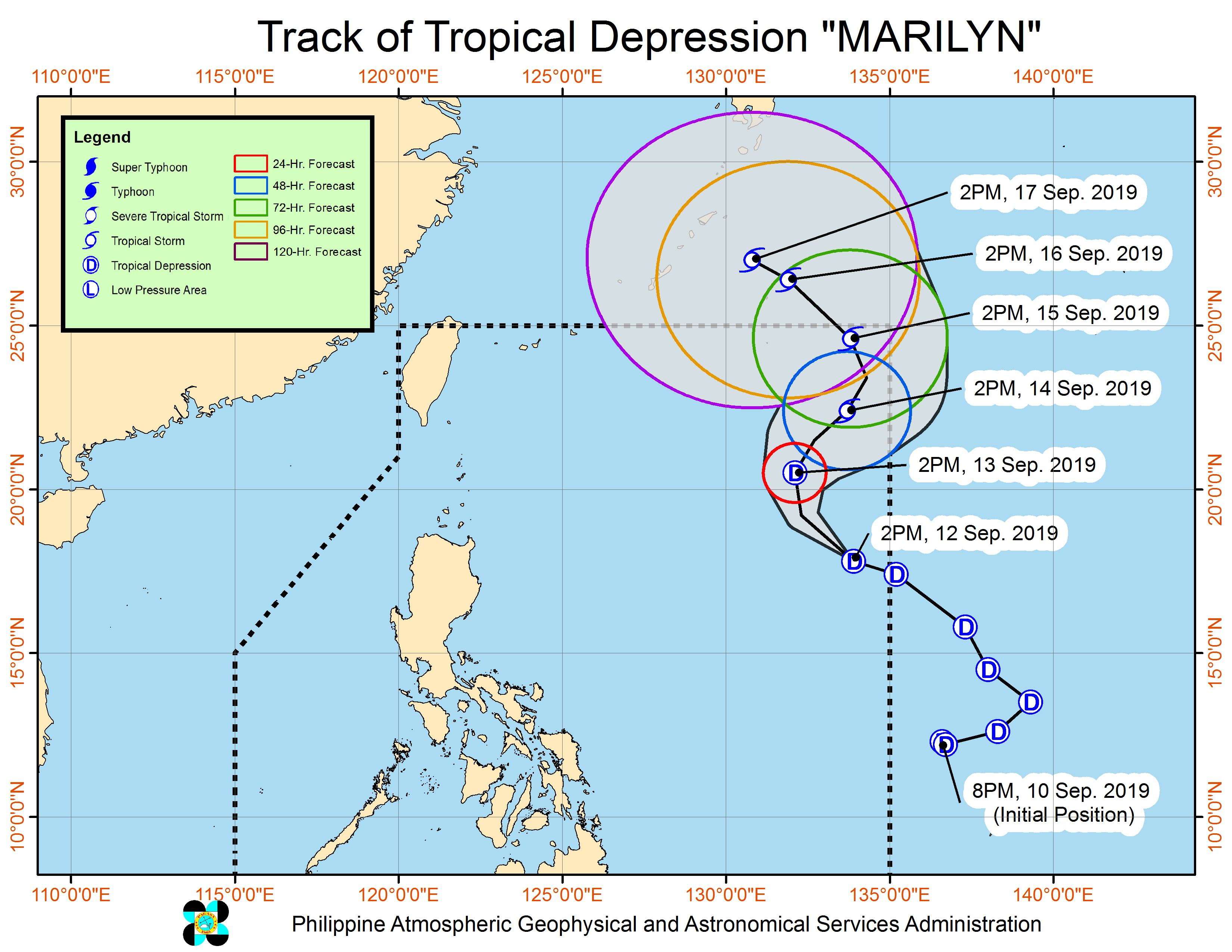Forecast track of Tropical Depression Marilyn as of September 12, 2019, 5 pm. Image from PAGASA