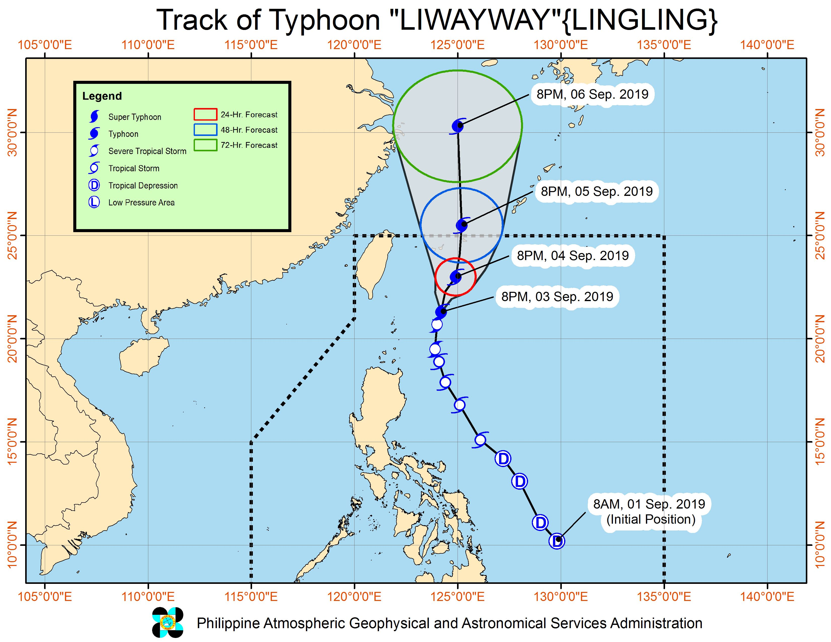 Forecast track of Typhoon Liwayway (Lingling) as of September 3, 2019, 11 pm. Image from PAGASA