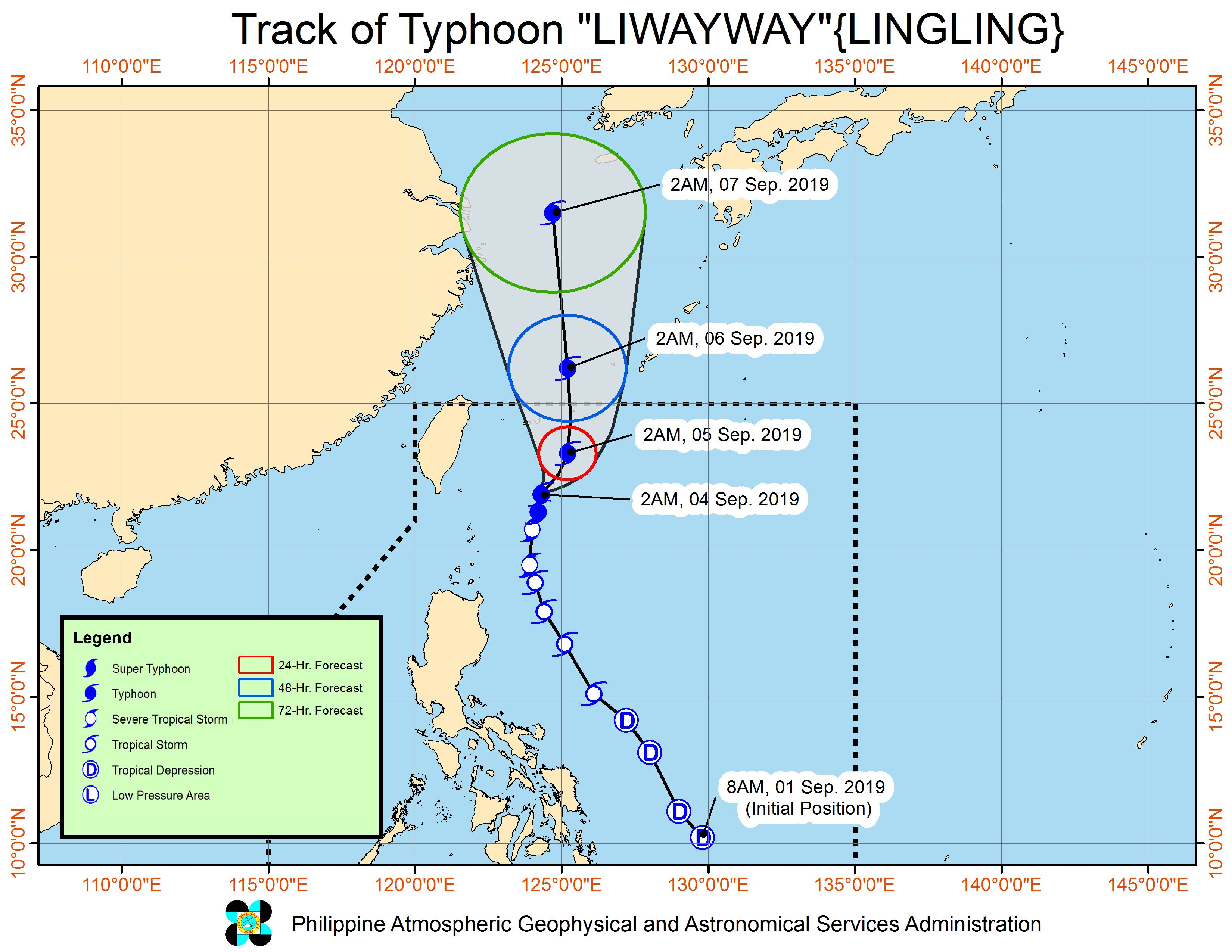 Forecast track of Typhoon Liwayway (Lingling) as of September 4, 2019, 5 am. Image from PAGASA