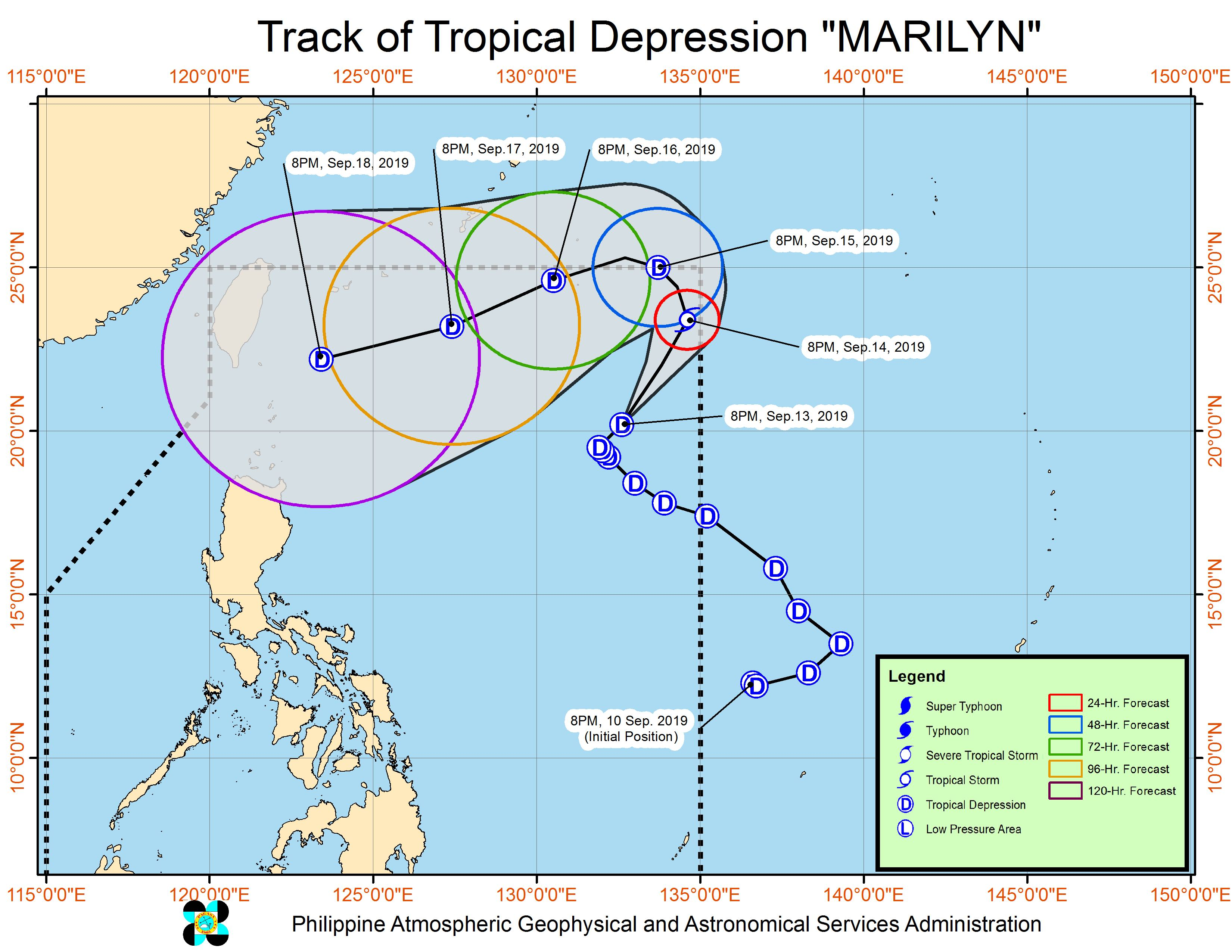 Forecast track of Tropical Depression Marilyn as of September 13, 2019, 11 pm. Image from PAGASA