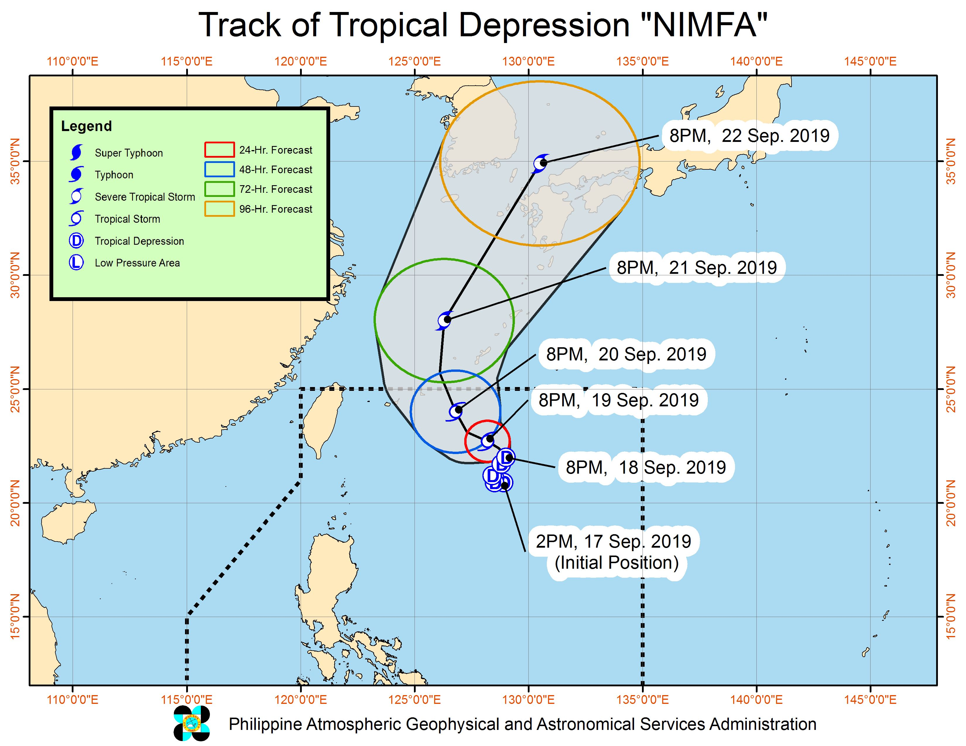 Forecast track of Tropical Depression Nimfa as of September 18, 2019, 11 pm. Image from PAGASA