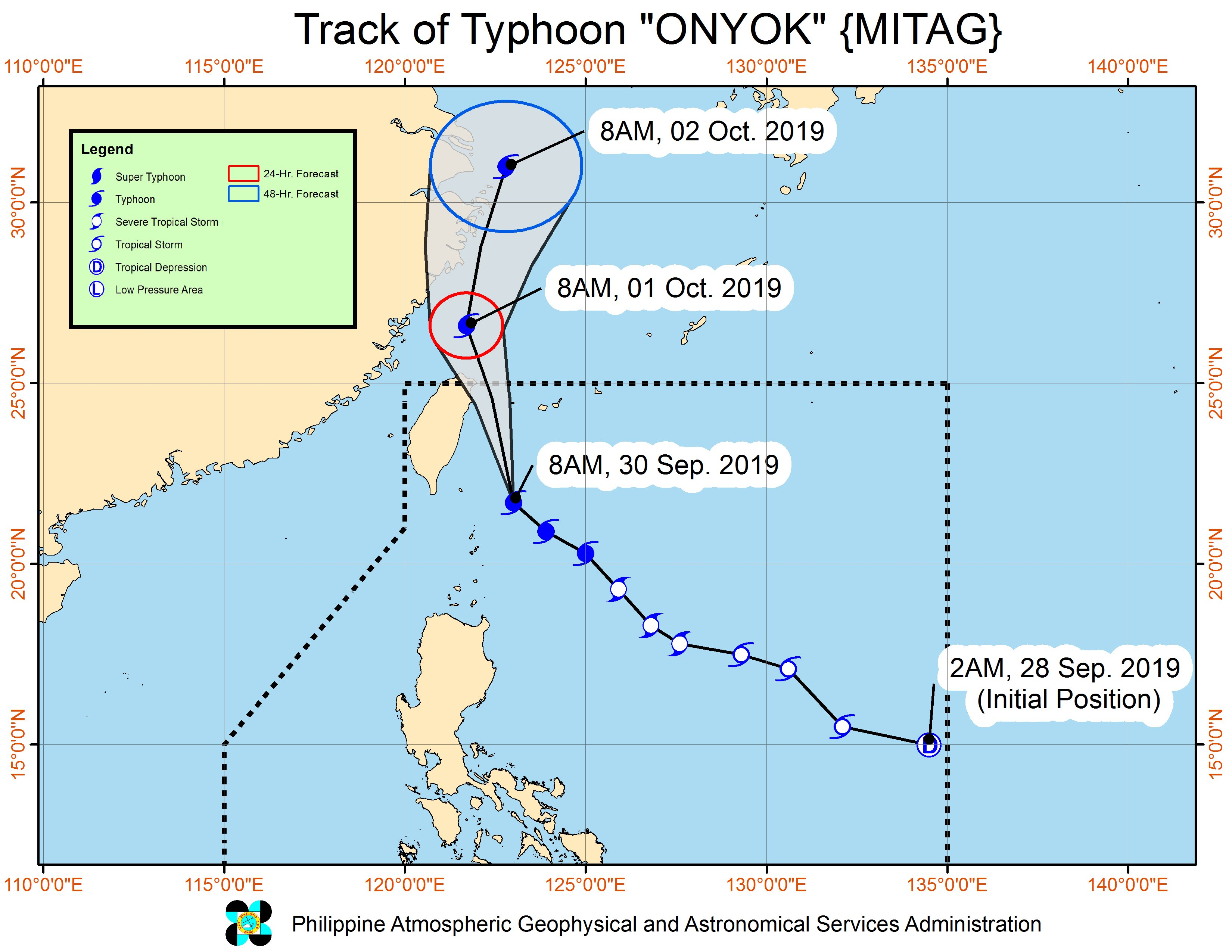 Forecast track of Typhoon Onyok (Mitag) as of September 30, 2019, 11 am. Image from PAGASA