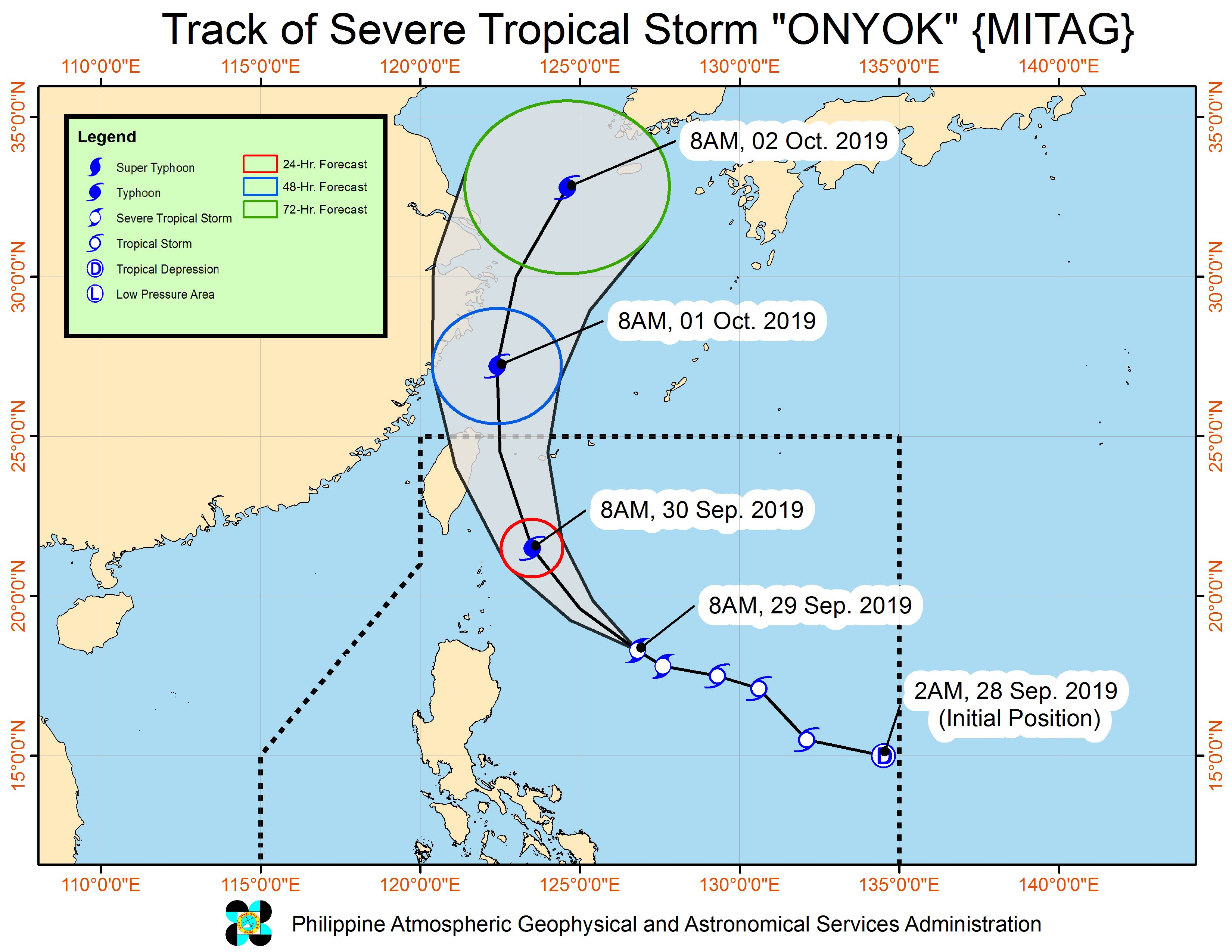 Forecast track of Severe Tropical Storm Onyok (Mitag) as of September 29, 2019, 11 am. Image from PAGASA