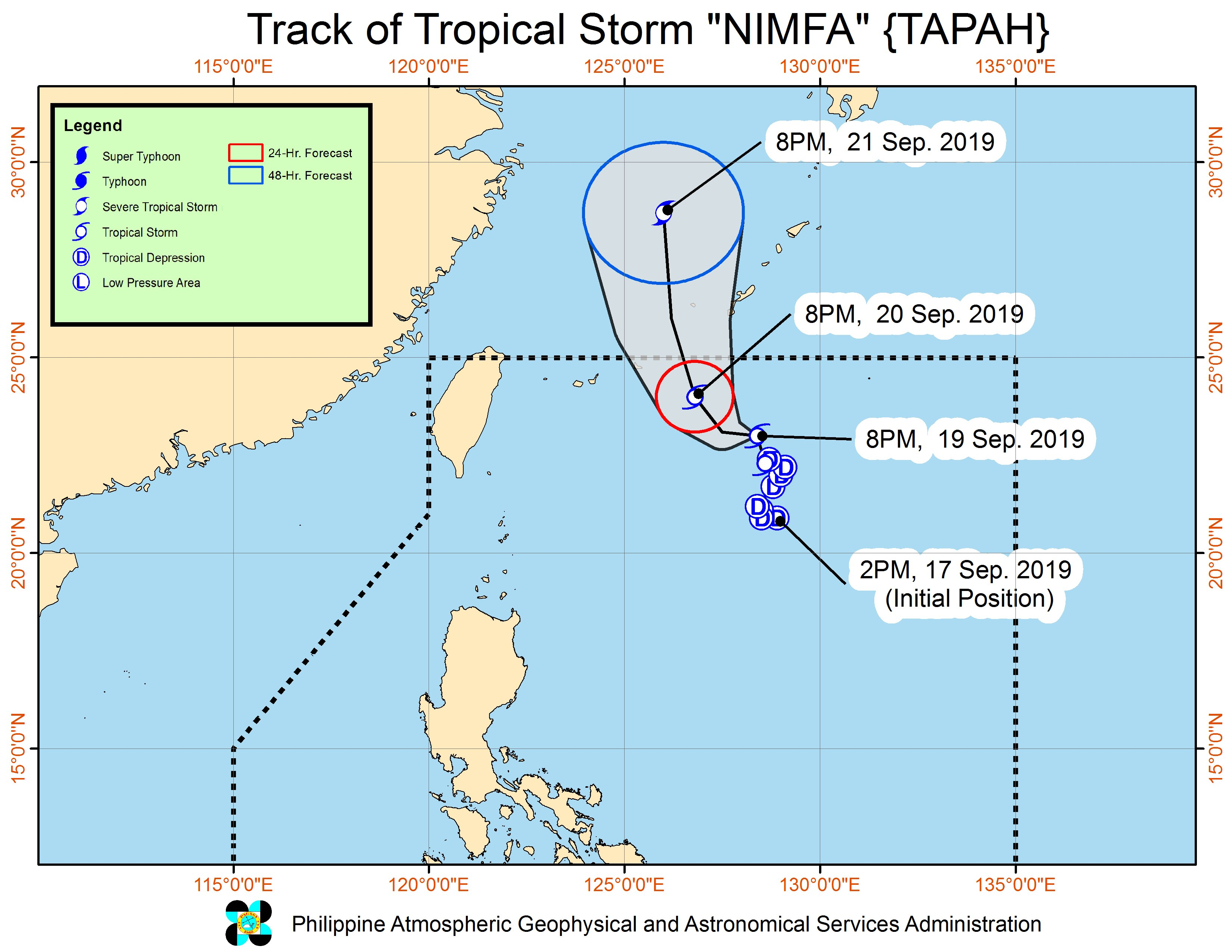 Forecast track of Tropical Storm Nimfa (Tapah) as of September 19, 2019, 11 pm. Image from PAGASA