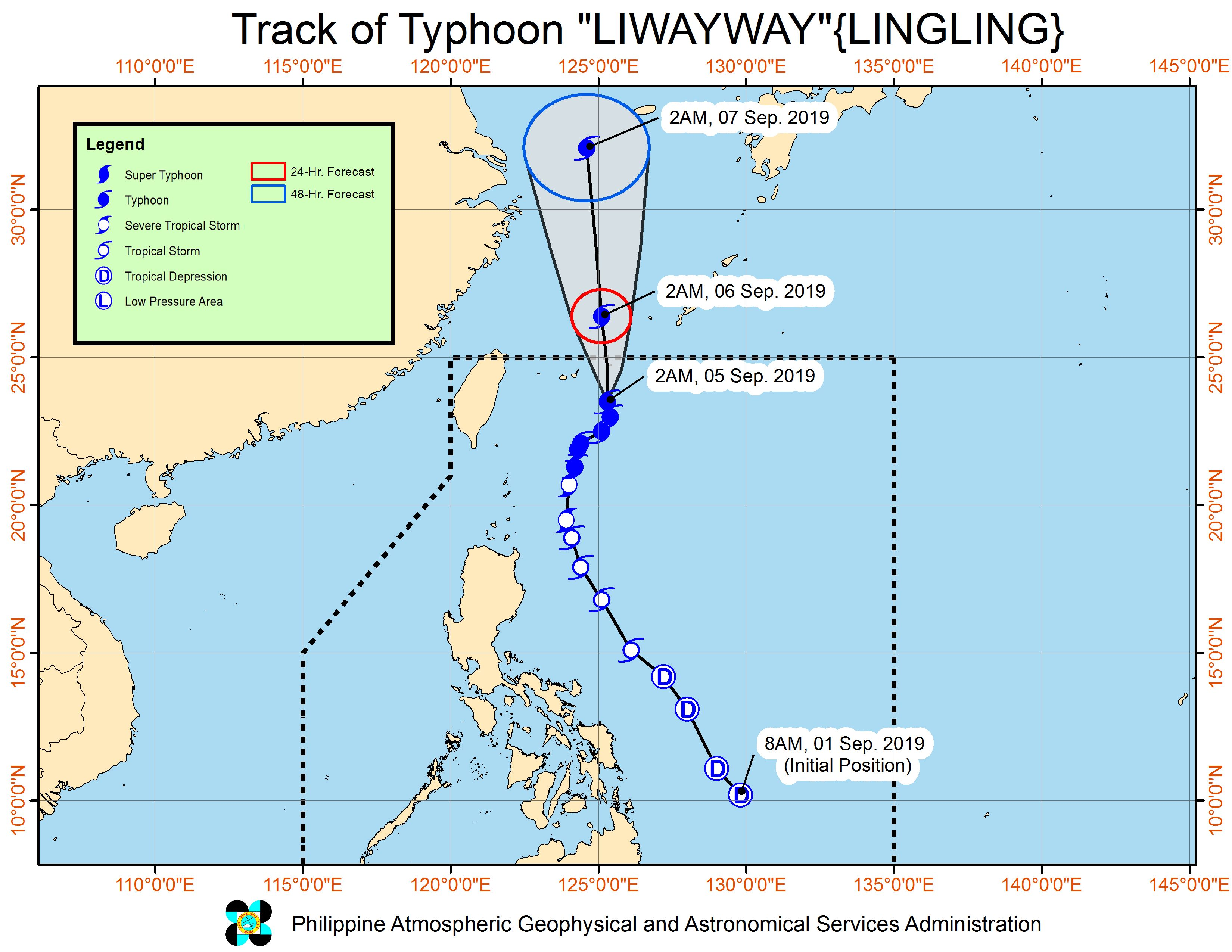 Forecast track of Typhoon Liwayway (Lingling) as of September 5, 2019, 5 am. Image from PAGASA