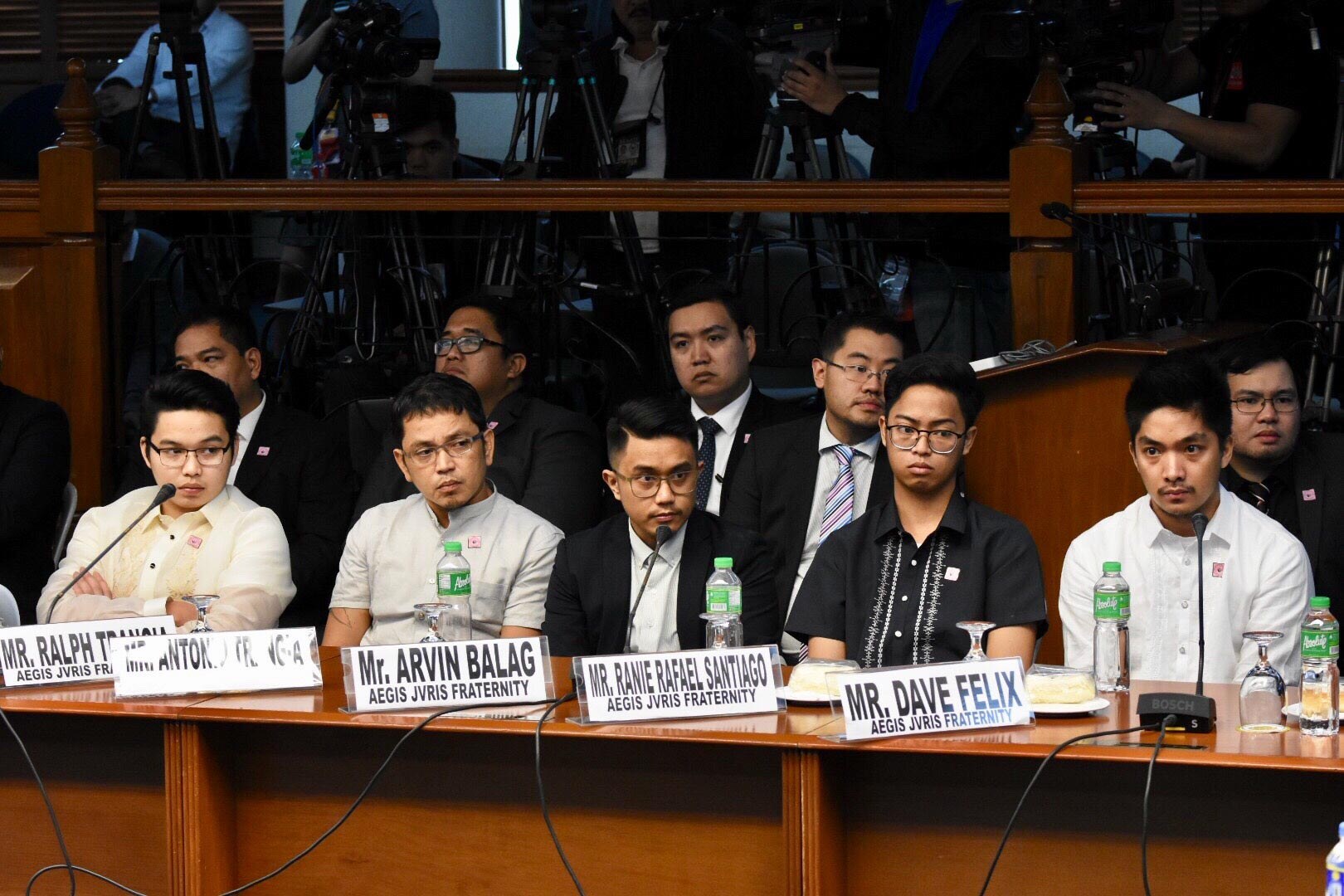 FRATMEN. Ralph Trangia (leftmost) and Arvin Balag (3rd from left) are facing murder complaints for the death of Horacio Castillo III. Photo by Rappler