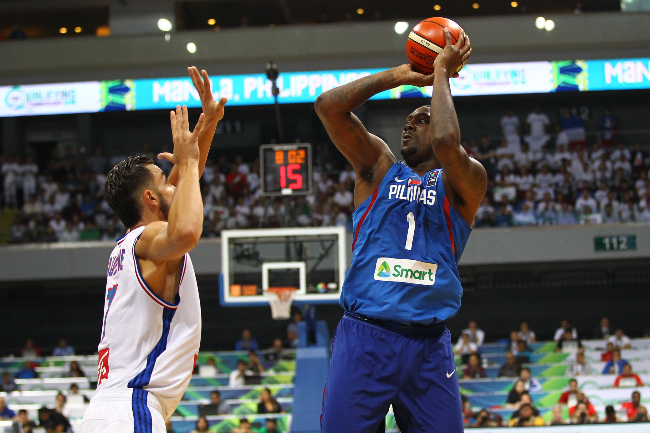 Andray Blatche sets up for a jump shot.