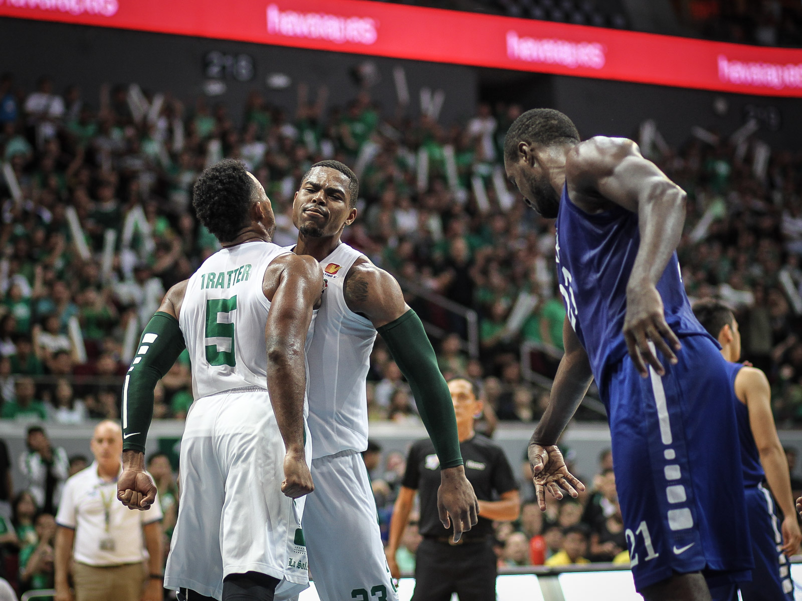GET UP THERE. La Salle's Ben Mbala (next to Abu Tratter) dominates against Ateneo in their game on October 2, 2016. Photo by Josh Albelda/Rappler
