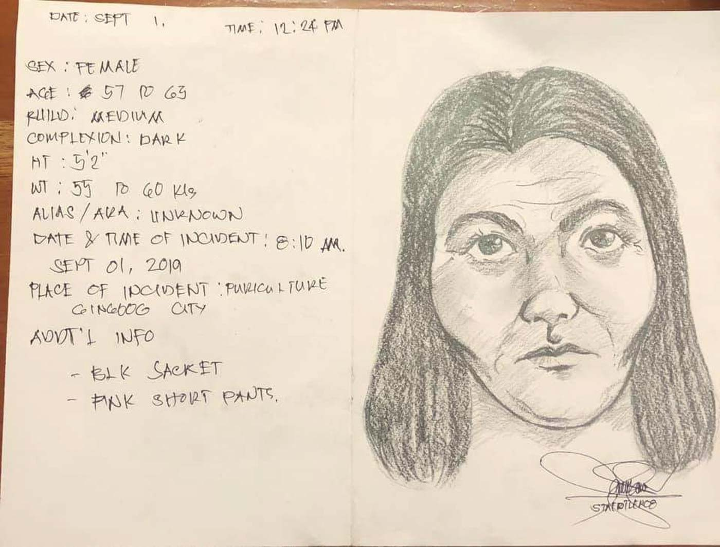 SUSPECT. Cartographic sketch of the suspect. Photo from Gingoog City Police Office