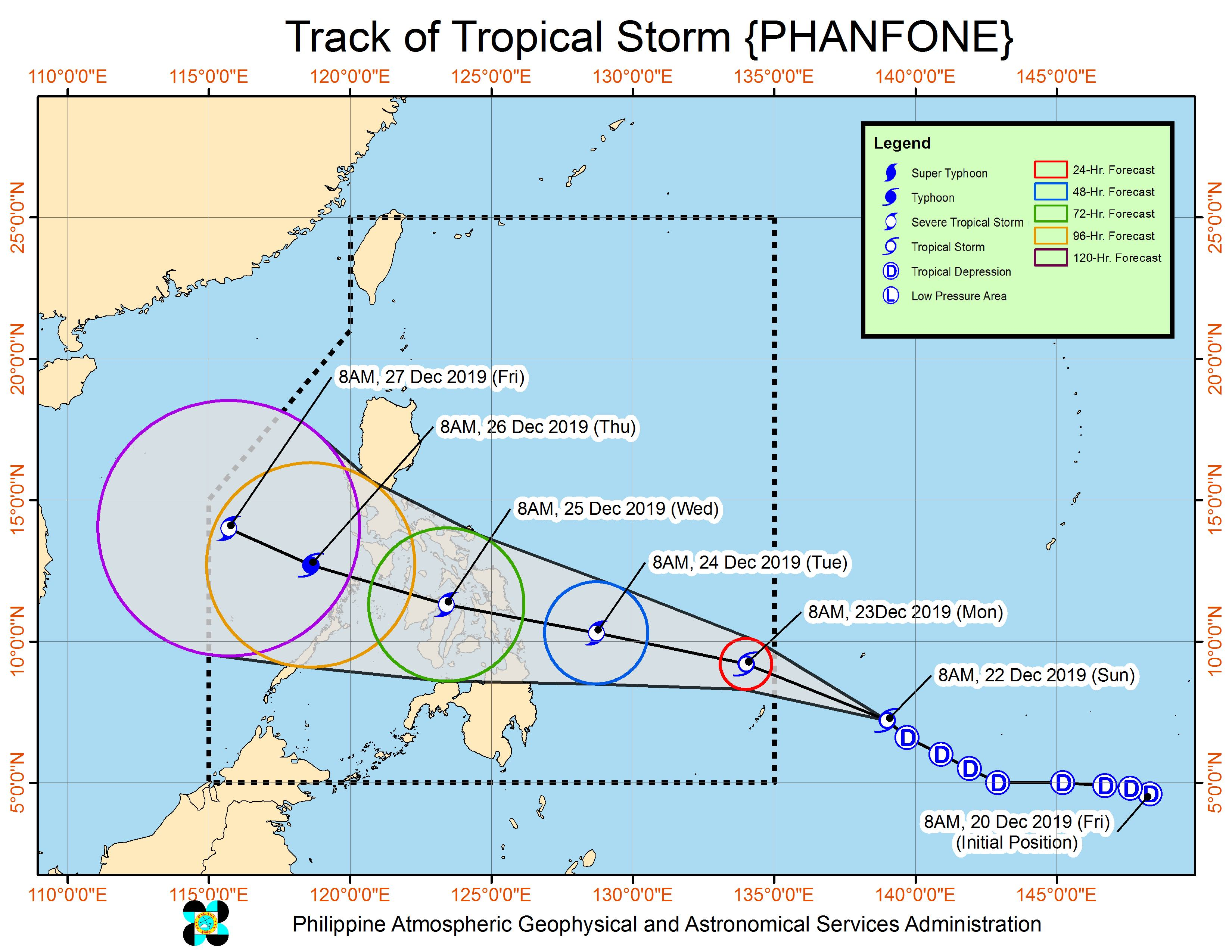 Forecast track of Tropical Storm Phanfone, which is still outside the Philippine Area of Responsibility, as of December 22, 2019, 11 am. Image from PAGASA