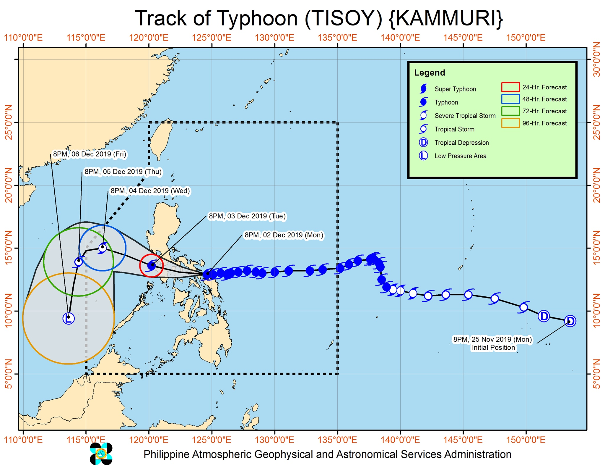 Forecast track of Typhoon Tisoy (Kammuri) as of December 2, 2019, 11 pm. Image from PAGASA