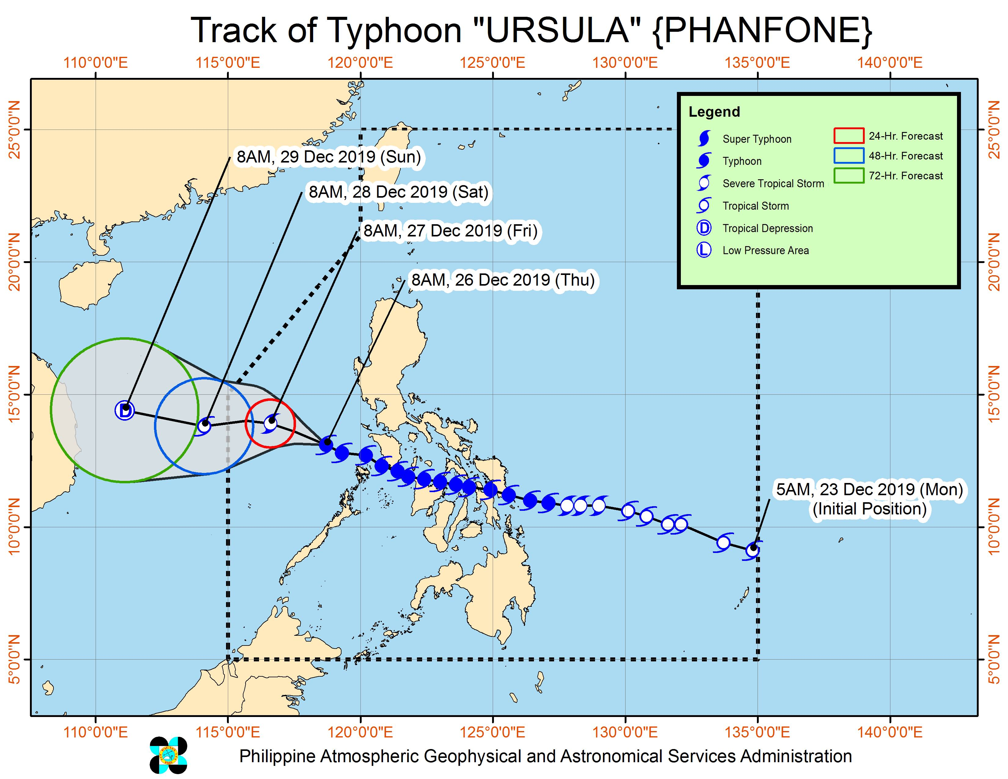 Forecast track of Typhoon Ursula (Phanfone) as of December 26, 2019, 11 am. Image from PAGASA