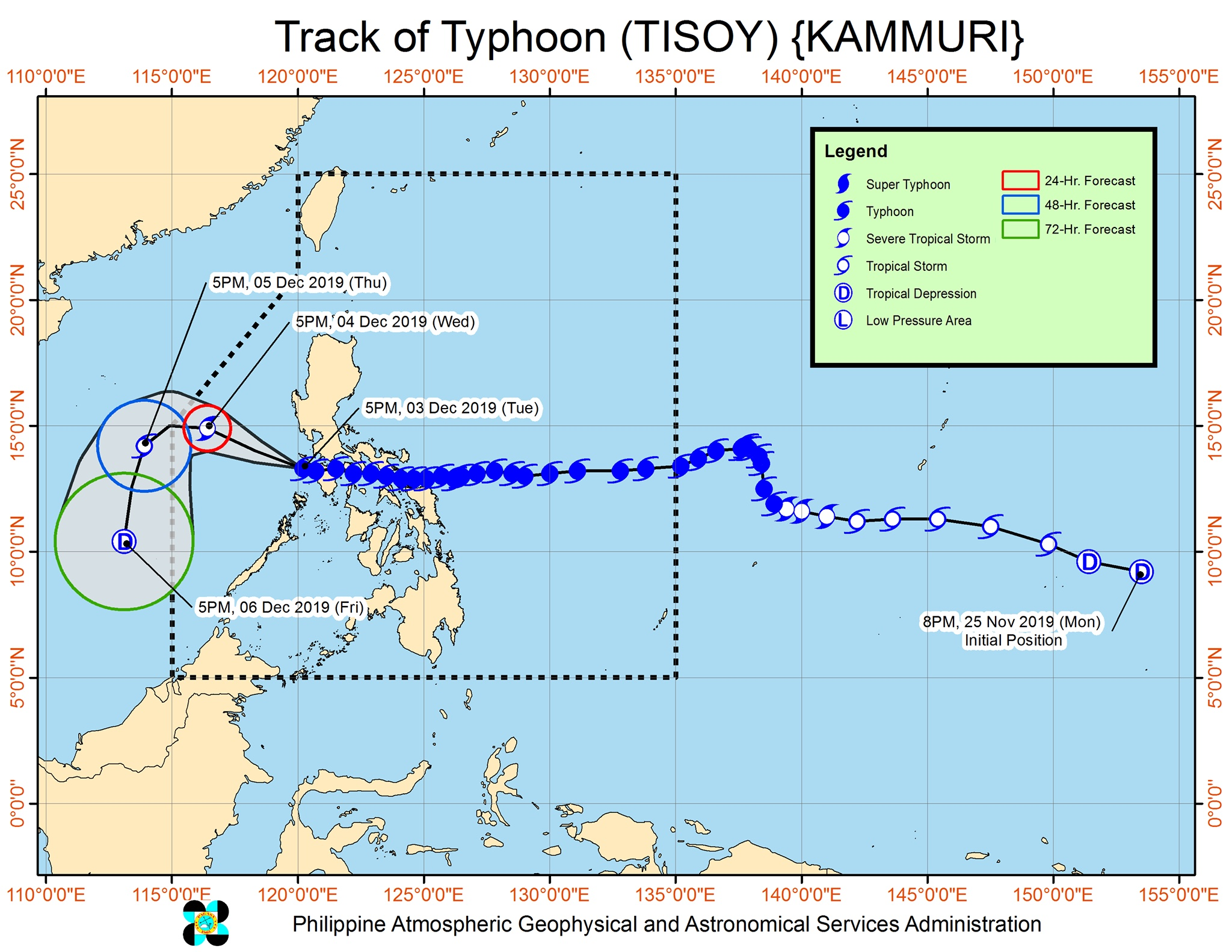 Forecast track of Typhoon Tisoy (Kammuri) as of December 3, 2019, 8 pm. Image from PAGASA