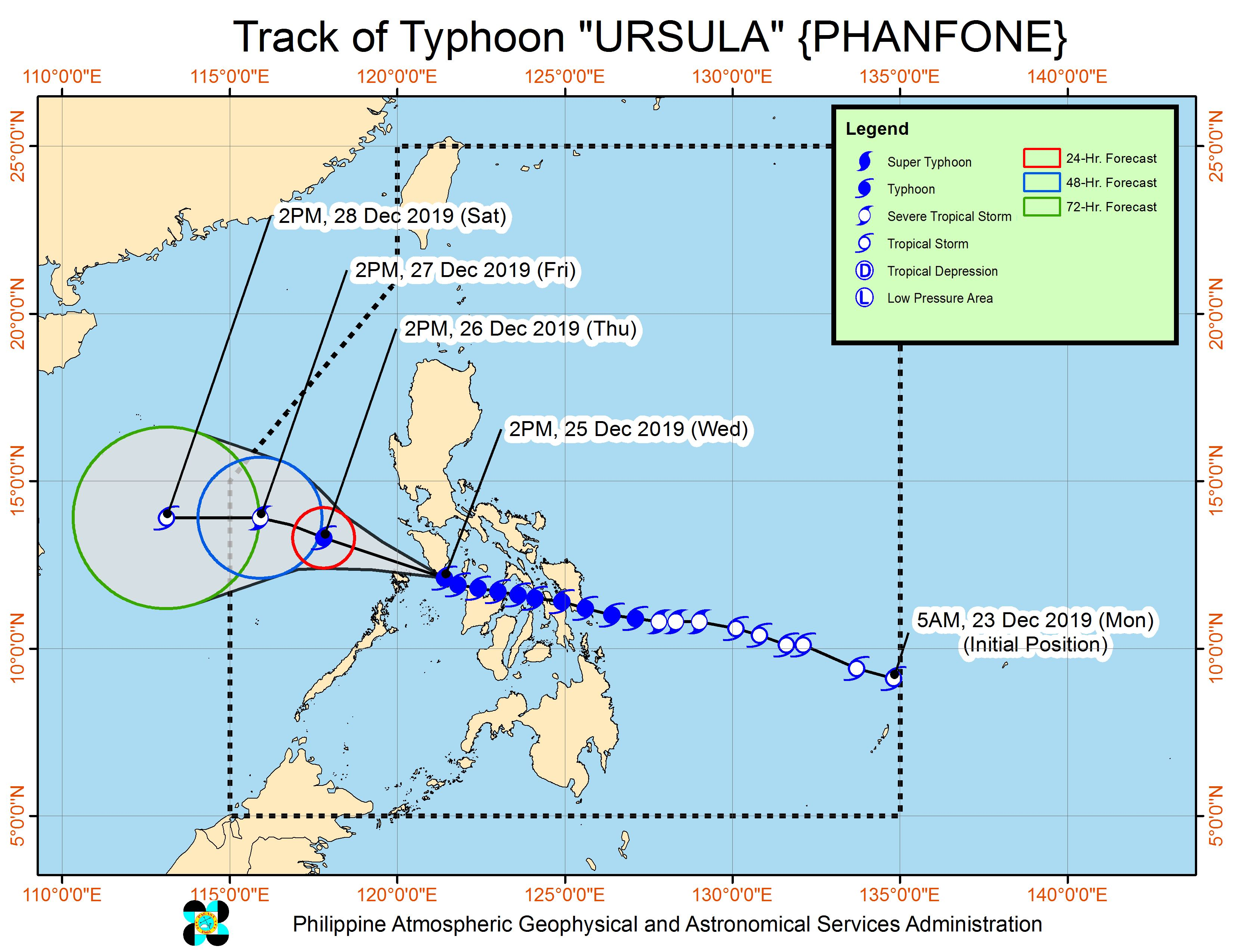 Forecast track of Typhoon Ursula (Phanfone) as of December 25, 2019, 5 pm. Image from PAGASA
