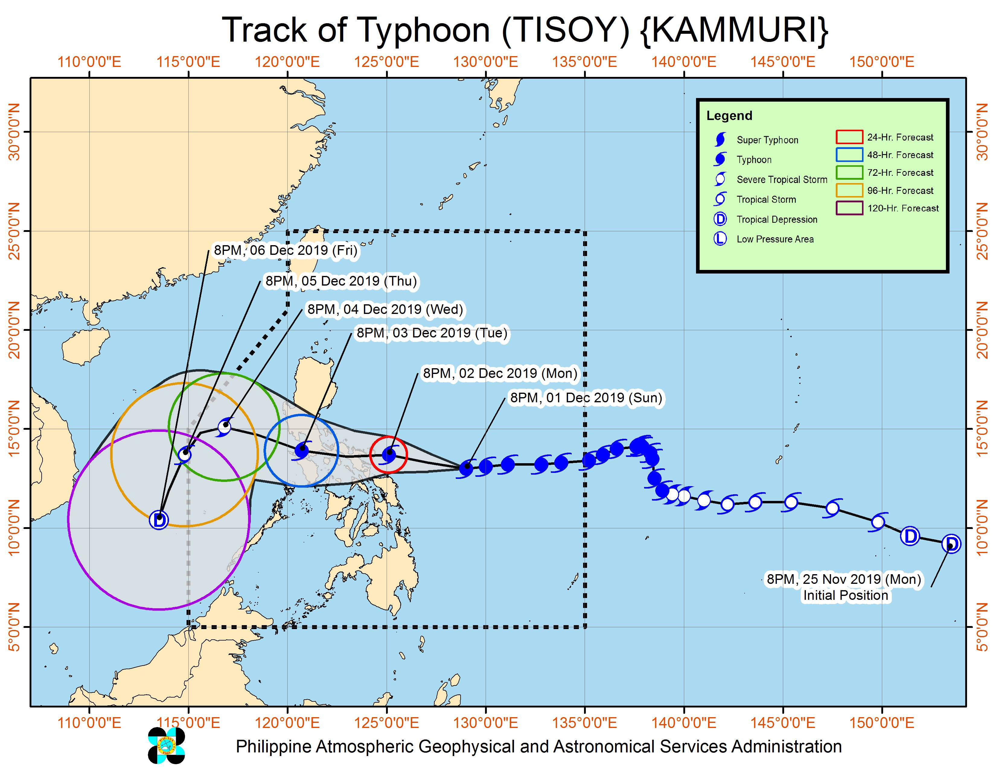 Forecast track of Typhoon Tisoy (Kammuri) as of December 1, 2019, 11 pm. Image from PAGASA