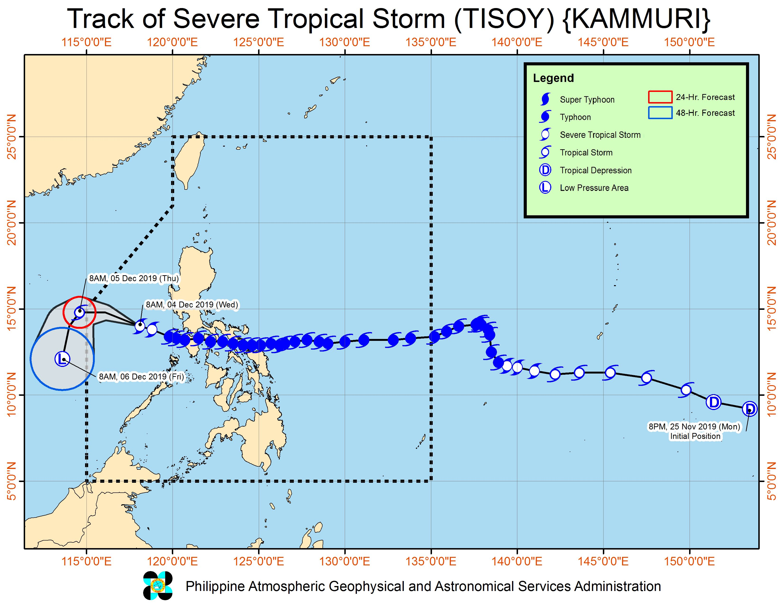 Forecast track of Severe Tropical Storm Tisoy (Kammuri) as of December 4, 2019, 11 am. Image from PAGASA