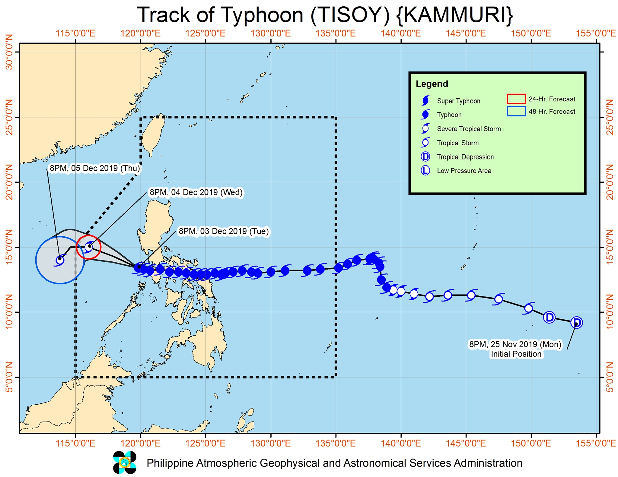 Forecast track of Typhoon Tisoy (Kammuri) as of December 3, 2019, 11 pm. Image from PAGASA