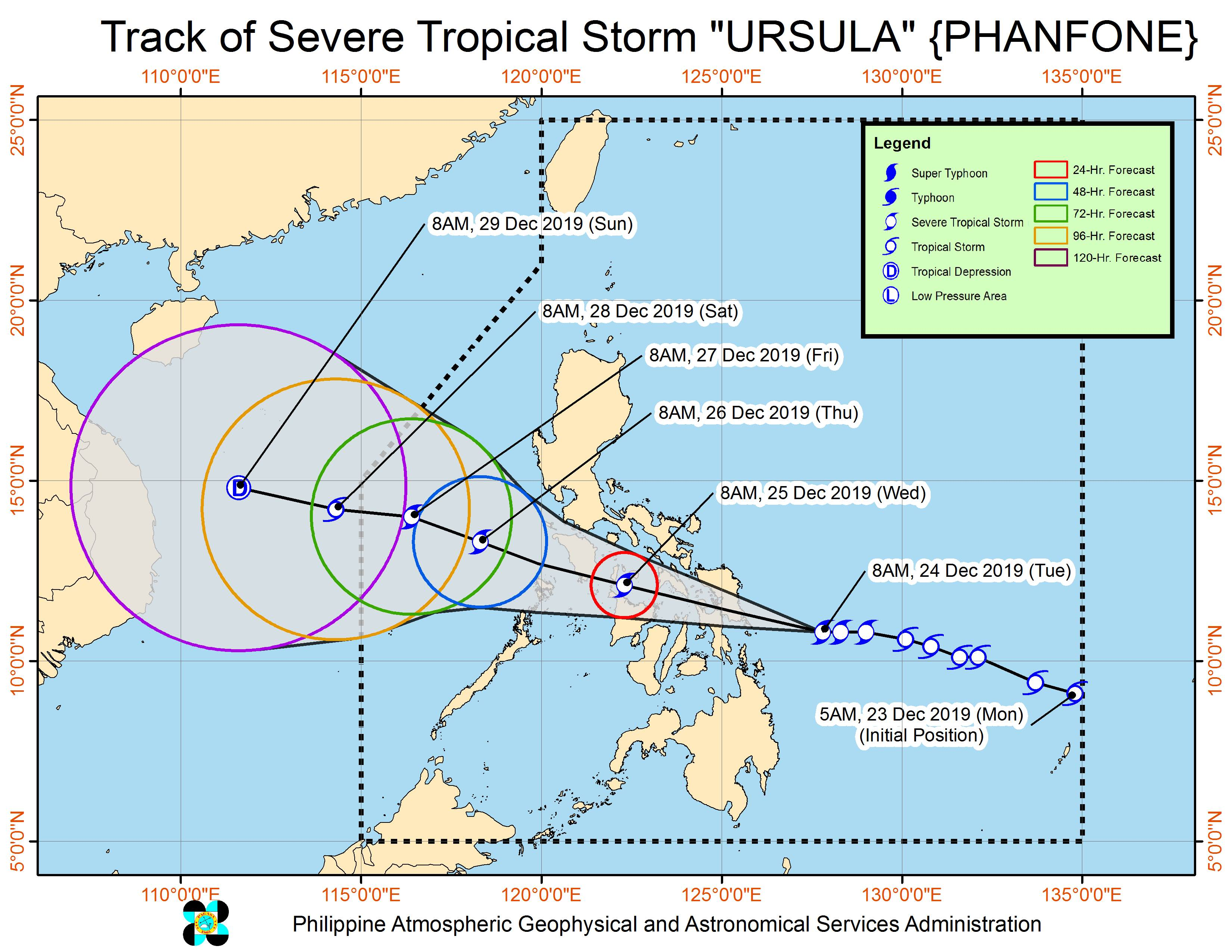 Forecast track of Severe Tropical Storm Ursula (Phanfone) as of December 24, 2019, 11 am. Image from PAGASA