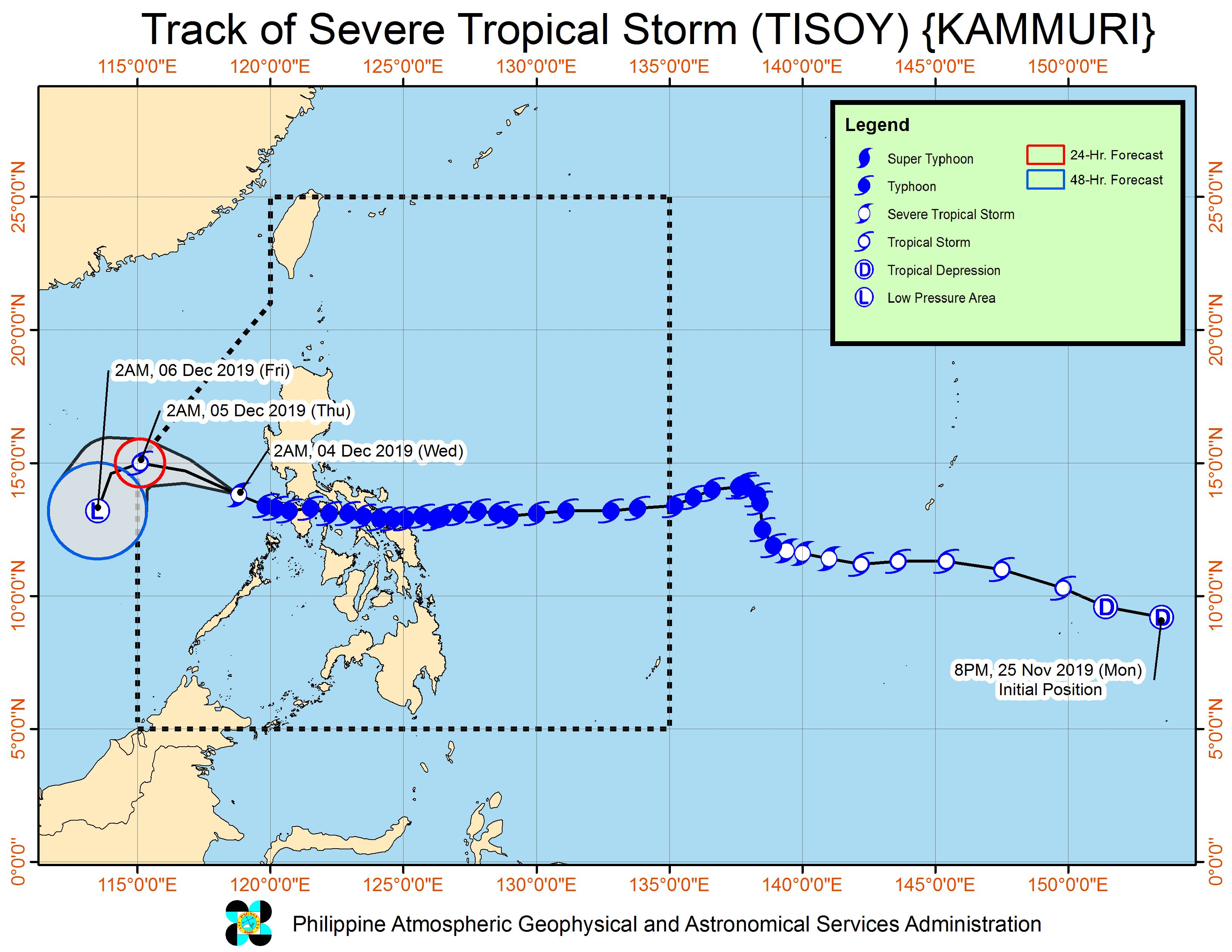 Forecast track of Severe Tropical Storm Tisoy (Kammuri) as of December 4, 2019, 5 am. Image from PAGASA