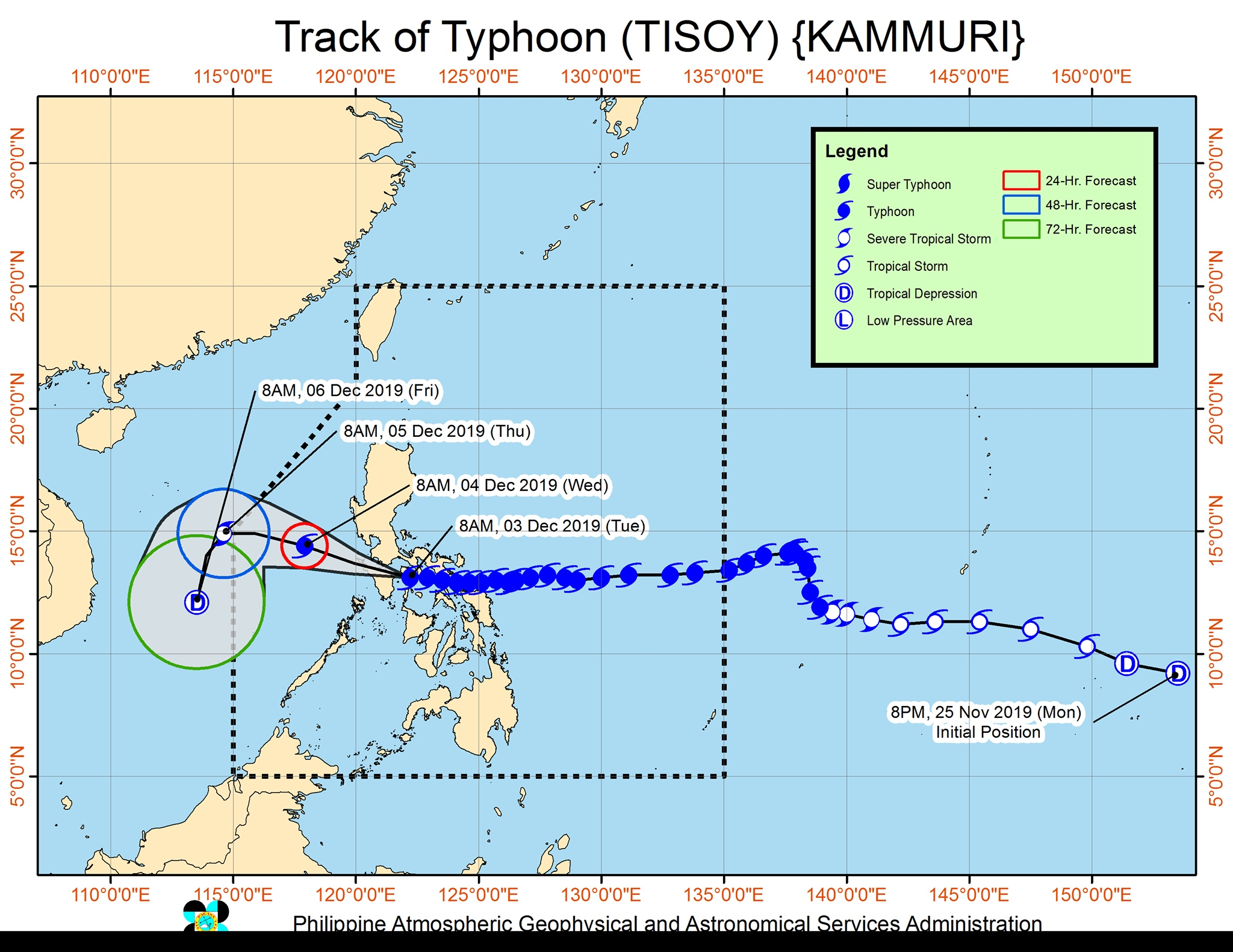 Forecast track of Typhoon Tisoy (Kammuri) as of December 3, 2019, 11 am. Image from PAGASA