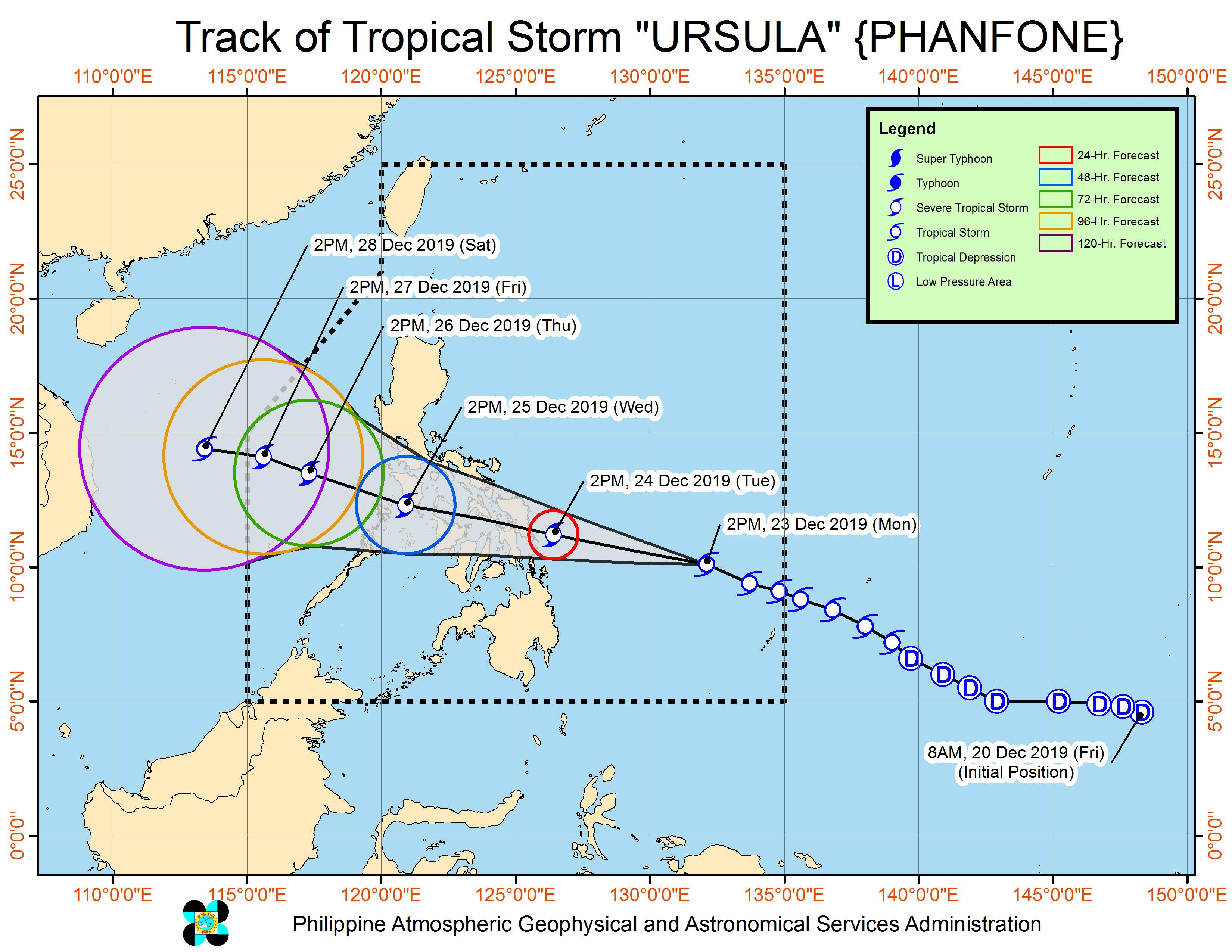 Forecast track of Tropical Storm Ursula (Phanfone) as of December 23, 2019, 5 pm. Image from PAGASA