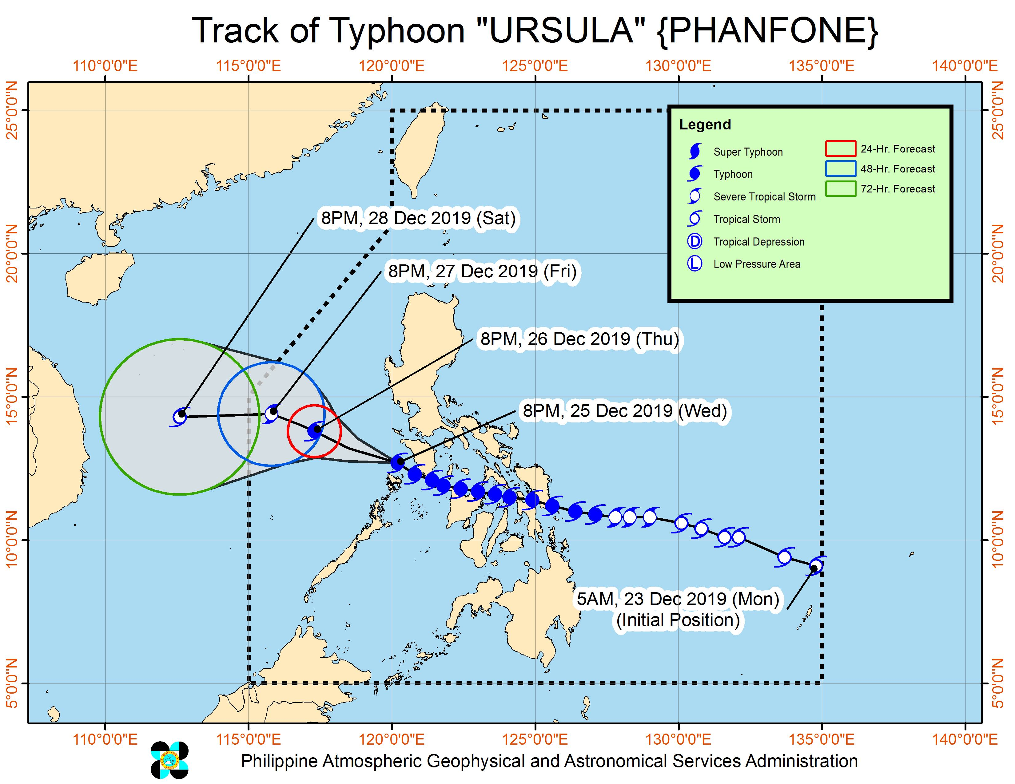 Forecast track of Typhoon Ursula (Phanfone) as of December 25, 2019, 11 pm. Image from PAGASA