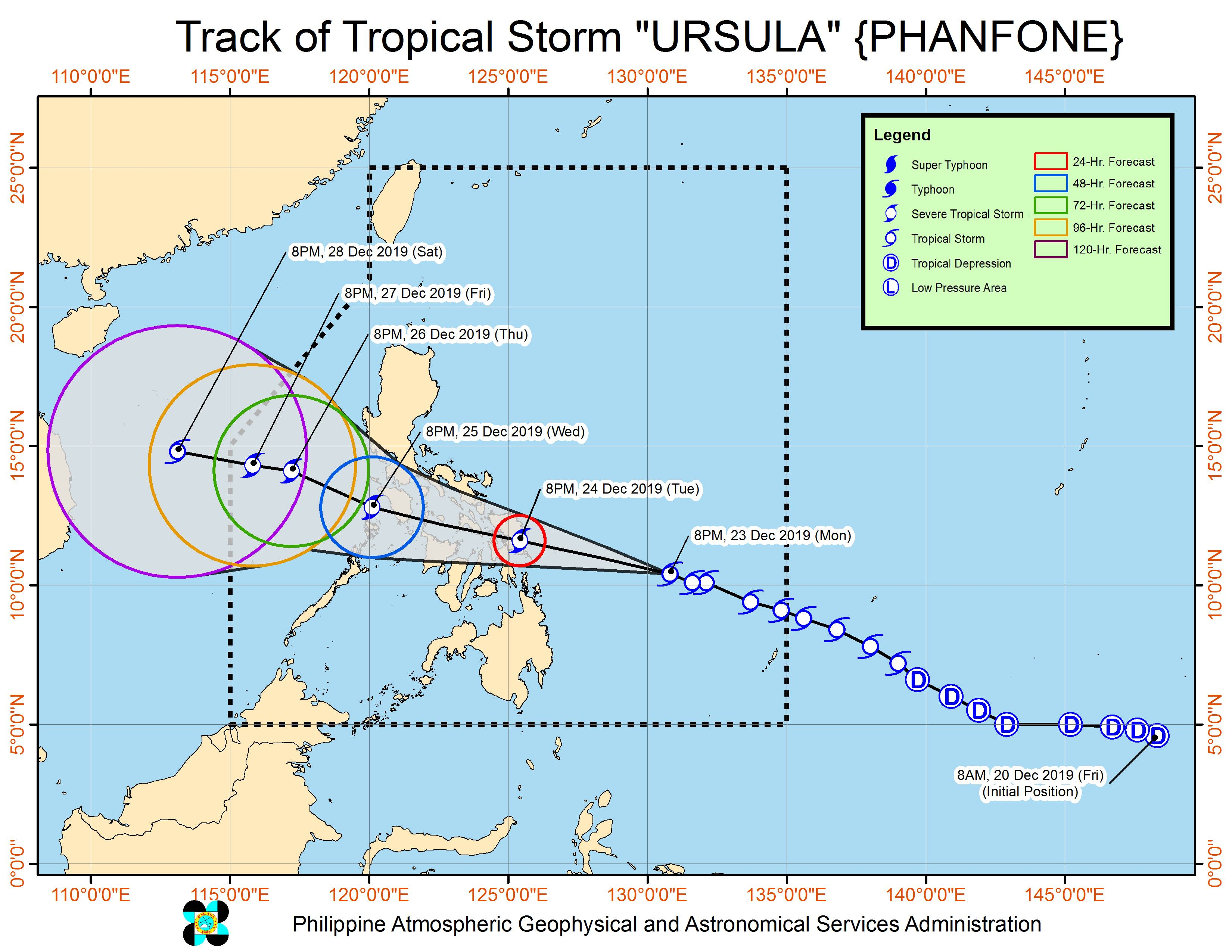 Forecast track of Tropical Storm Ursula (Phanfone) as of December 23, 2019, 11 pm. Image from PAGASA
