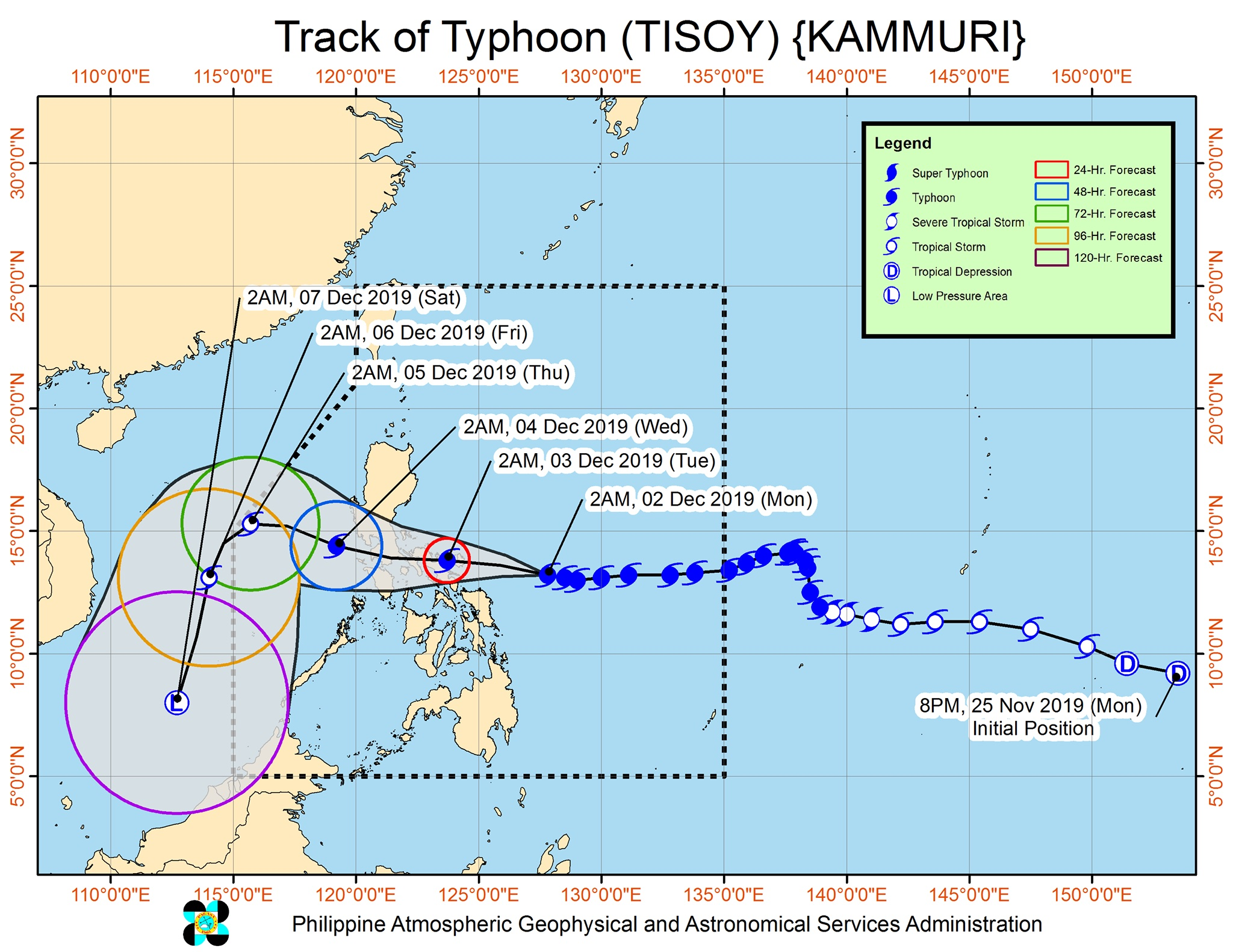 Forecast track of Typhoon Tisoy (Kammuri) as of December 2, 2019, 5 am. Image from PAGASA